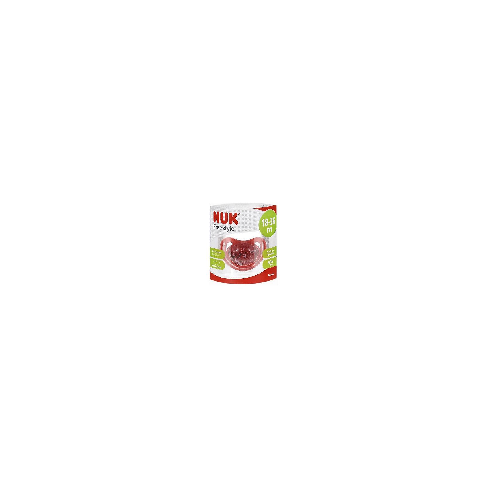 Пустышка силиконовая для сна FREESTYLE 1 шт. р-р 3, NUK, красныйХарактеристики изделия:<br><br>- цвет: красный;<br>- материал: силикон, полиэстер;<br>- ортодонтическая форма;<br>- меньшее количество точек соприкосновения с кожей;<br>- с колечком;<br>- упаковка из 100% биопластика;<br>- размер 3.<br><br>Детские товары существенно облегчают жизнь молодым мамам. Существует множество полезных в период материнства вещей. К таким относится и пустышка. <br>Данная модель разработана совместно с ортодонтами. Мягкий материал подойдет для ротовой полости ребенка. Пустышка легко очищается от любых поверхностных загрязнений. Она помогает правильно сформировать прикус и нормально развиться ротовой полости.<br><br>Пустышку силиконовую для сна FREESTYLE 1 шт. от производителя NUK можно купить в нашем магазине.<br><br>Ширина мм: 75<br>Глубина мм: 75<br>Высота мм: 105<br>Вес г: 38<br>Возраст от месяцев: 18<br>Возраст до месяцев: 36<br>Пол: Унисекс<br>Возраст: Детский<br>SKU: 5065290