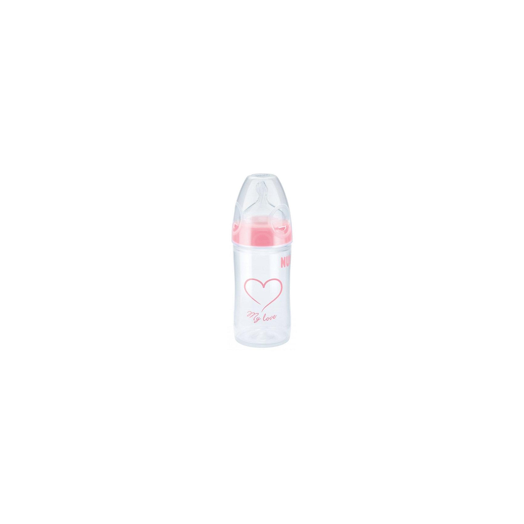 Бутылочка First Choice New Classic из ПП 150 мл + сил.соска  FC+ М р-р1, NUK, розовыйБутылочки и аксессуары<br>Характеристики изделия:<br><br>- объем: 150 мл;<br>- цвет: розовый;<br>- материал: силикон, полипропилен;<br>- широкое горло;<br>- удобно держать;<br>- система ANTI-COLIC AIR SYSTEM;<br>- с соской ортодонтической формы.<br><br>Детские товары существенно облегчают жизнь молодым мамам. Существует множество полезных в период материнства вещей. К таким относится обыкновенная пластиковая бутылочка-поильник. <br>Данная модель оптимально подходит для детей. Мягкий материал соски подойдет для ротовой полости ребенка. Предмет удобно держать. Бутылочка легко очищается от любых поверхностных загрязнений, так как имеет удобное широкое горлышко. Оптимальный объем позволит активно использовать бутылочку для малышей и брать в дорогу.<br><br>Бутылочку First Choice New Classic от производителя NUK можно купить в нашем магазине.<br><br>Ширина мм: 120<br>Глубина мм: 65<br>Высота мм: 185<br>Вес г: 86<br>Возраст от месяцев: 0<br>Возраст до месяцев: 6<br>Пол: Унисекс<br>Возраст: Детский<br>SKU: 5065298