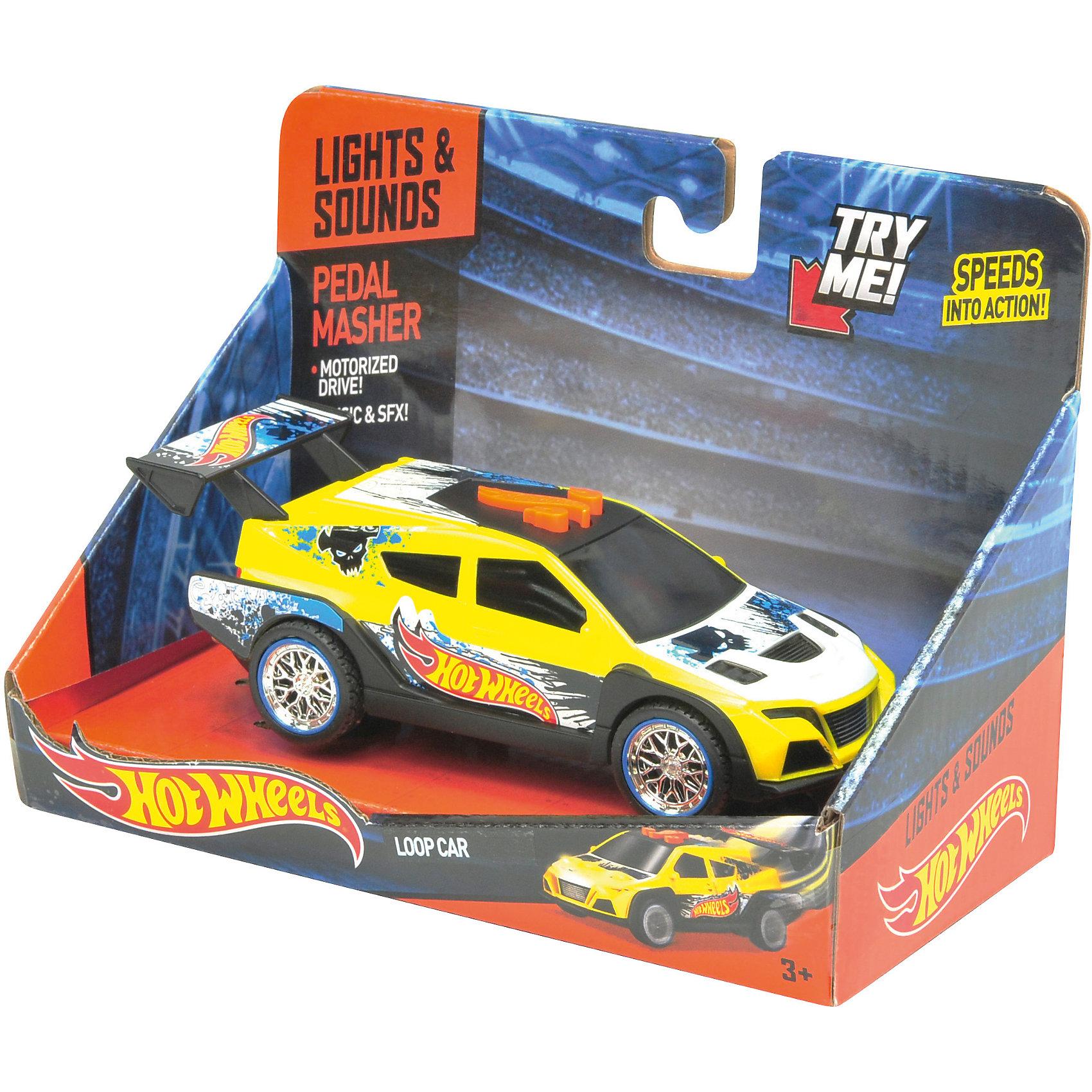 Машинка - Loop Car (свет, звук), жёлтая, 14 см, Hot WheelsМашинки<br>Характеристики товара:<br><br>- цвет: желтый;<br>- материал: пластик, металл;<br>- особенности:электромеханическая, со звуковыми и световыми эффектами;<br>- вес: 250 г;<br>- размер упаковки: 9х13х18;<br>- батарейки 3хААA;<br>- размер машинки: 14 см.<br><br>Какой мальчишка откажется поиграть с машинкой Hot Wheels, которая выглядит как настоящая?! Машинка очень эффектно смотрится, она запускается нажатием кнопки. Игрушка отлично детализирована, очень качественно выполнена, поэтому она станет отличным подарком ребенку. Продается в красивой упаковке.<br>Изделия произведены из высококачественного материала, безопасного для детей.<br><br>Электромеханическую машинку Hot Wheels можно купить в нашем интернет-магазине.<br><br>Ширина мм: 89<br>Глубина мм: 127<br>Высота мм: 178<br>Вес г: 245<br>Возраст от месяцев: 36<br>Возраст до месяцев: 2147483647<br>Пол: Мужской<br>Возраст: Детский<br>SKU: 5066708