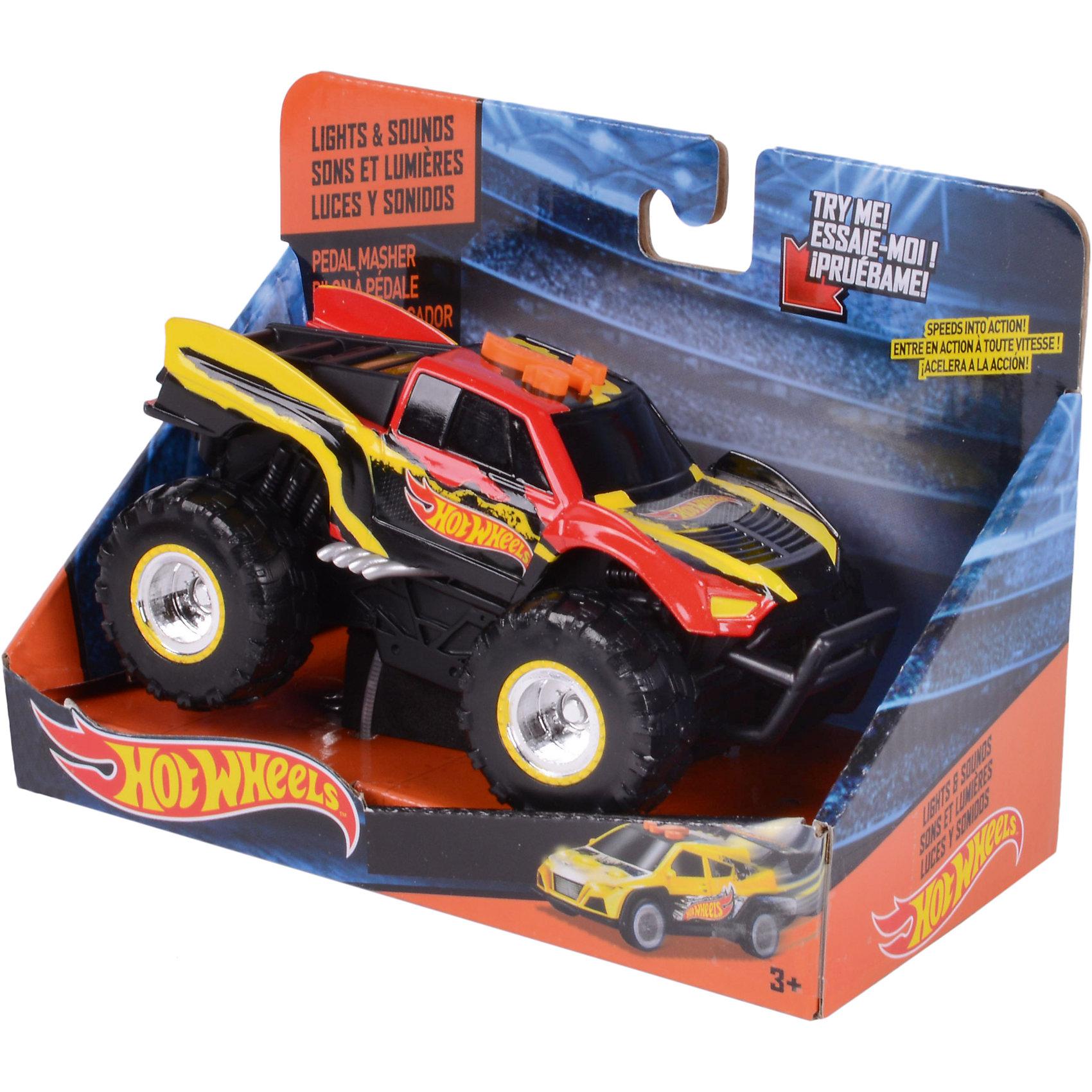 - Электромеханическая машинка, красно-жёлтая, 14 см, Hot Wheels электромеханическая машинка синяя 33 см hot wheels