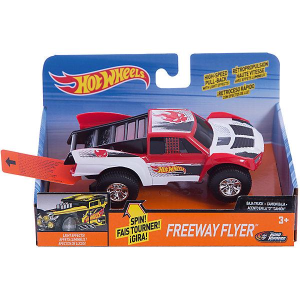 Машинка Freeway Flyer - Baja Truck (свет, звук), красная, 14 см, Hot WheelsПопулярные игрушки<br>Характеристики товара:<br><br>- цвет: красный;<br>- материал: пластик, металл;<br>- особенности: инерционная, со световыми эффектами;<br>- вес: 200 г;<br>- размер упаковки: 9х13х18;<br>- размер машинки: 14 см.<br><br>Какой мальчишка откажется поиграть с коллекционной машинкой Hot Wheels, которая выглядит как настоящая?! Машинка очень эффектно смотрится, она дополнена световыми эффектами и инерционным механизмом. Игрушка отлично детализирована, очень качественно выполнена, поэтому она станет отличным подарком ребенку. Продается в красивой упаковке.<br>Изделия произведены из высококачественного материала, безопасного для детей.<br><br>Механическую машинку Hot Wheels можно купить в нашем интернет-магазине.<br><br>Ширина мм: 89<br>Глубина мм: 127<br>Высота мм: 178<br>Вес г: 184<br>Возраст от месяцев: 36<br>Возраст до месяцев: 2147483647<br>Пол: Мужской<br>Возраст: Детский<br>SKU: 5066712