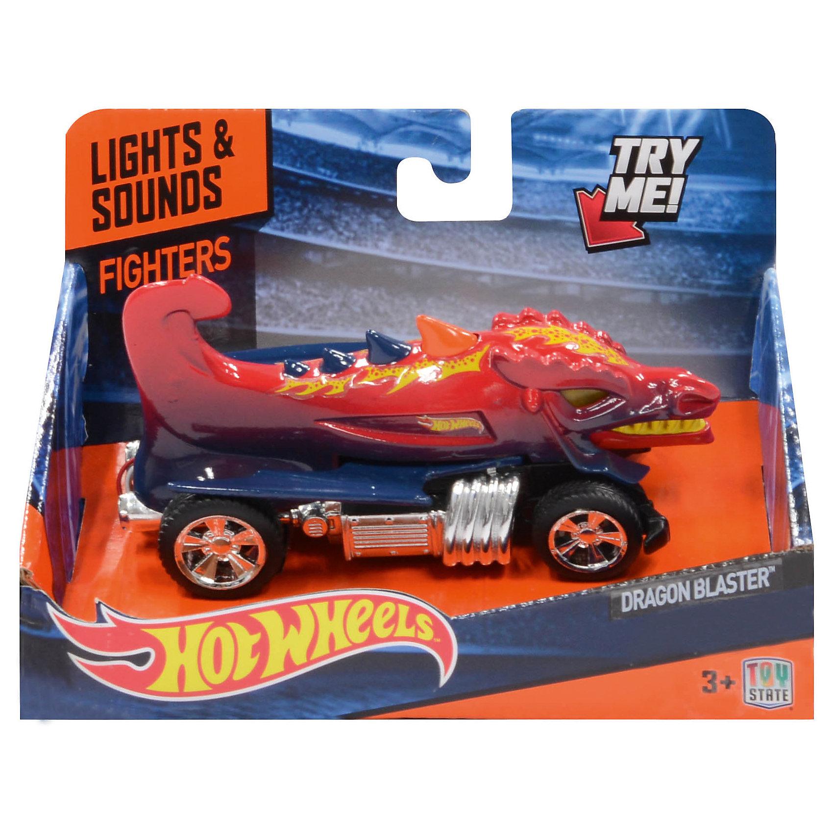 Машинка Fighters - Dragon Blaster (свет, звук) 13,5 см, Hot WheelsХарактеристики товара:<br><br>- цвет: красный;<br>- материал: пластик, металл;<br>- особенности: на батарейках, со звуковыми и световыми эффектами;<br>- вес: 160 г;<br>- размер упаковки: 9х13х18;<br>- батарейки: демонстрационные в комплекте;<br>- размер машинки: 13,5 см.<br><br>Какой мальчишка откажется поиграть с коллекционной машинкой Hot Wheels, которая выглядит как настоящая?! Машинка очень эффектно смотрится, она запускается нажатием кнопки. Игрушка отлично детализирована, очень качественно выполнена, поэтому она станет отличным подарком ребенку. Продается в красивой упаковке.<br>Изделия произведены из высококачественного материала, безопасного для детей.<br><br>Машинку Красный дракон Hot Wheels можно купить в нашем интернет-магазине.<br><br>Ширина мм: 89<br>Глубина мм: 127<br>Высота мм: 158<br>Вес г: 160<br>Возраст от месяцев: 36<br>Возраст до месяцев: 2147483647<br>Пол: Мужской<br>Возраст: Детский<br>SKU: 5066715