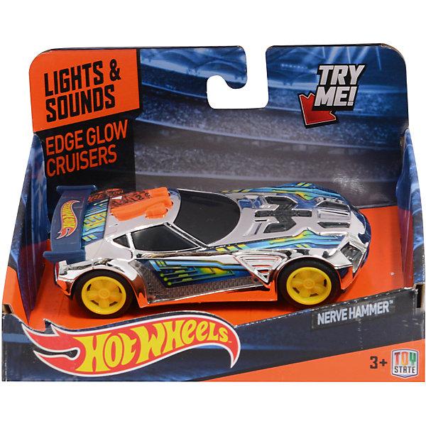Машинка - Nerve Hammer (свет, звук), 13,5 см, Hot WheelsПопулярные игрушки<br>Характеристики товара:<br><br>- цвет: разноцветный;<br>- материал: пластик, металл;<br>- особенности: на батарейках, со звуковыми и световыми эффектами;<br>- вес: 160 г;<br>- размер упаковки: 9х13х18;<br>- батарейки: демонстрационные в комплекте;<br>- размер машинки: 13,5 см.<br><br>Какой мальчишка откажется поиграть с коллекционной машинкой Hot Wheels, которая выглядит как настоящая?! Машинка очень эффектно смотрится, она запускается нажатием кнопки. Игрушка отлично детализирована, очень качественно выполнена, поэтому она станет отличным подарком ребенку. Продается в красивой упаковке.<br>Изделия произведены из высококачественного материала, безопасного для детей.<br><br>Машинку Синий спойлер Hot Wheels можно купить в нашем интернет-магазине.<br><br>Ширина мм: 89<br>Глубина мм: 127<br>Высота мм: 158<br>Вес г: 166<br>Возраст от месяцев: 36<br>Возраст до месяцев: 2147483647<br>Пол: Мужской<br>Возраст: Детский<br>SKU: 5066720