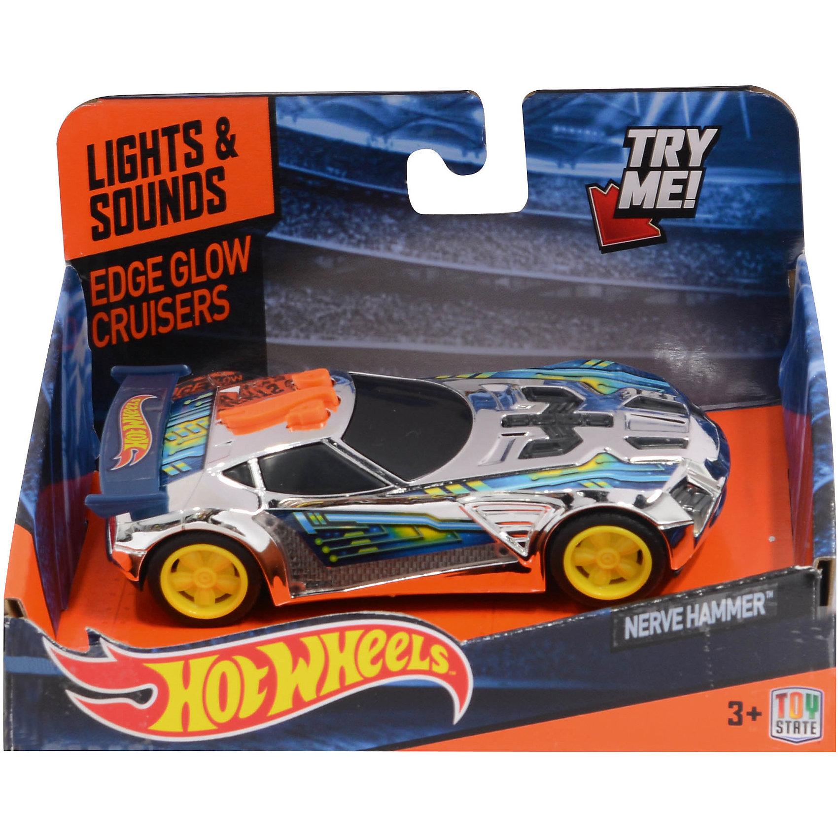 Машинка - Nerve Hammer (свет, звук), 13,5 см, Hot WheelsХарактеристики товара:<br><br>- цвет: разноцветный;<br>- материал: пластик, металл;<br>- особенности: на батарейках, со звуковыми и световыми эффектами;<br>- вес: 160 г;<br>- размер упаковки: 9х13х18;<br>- батарейки: демонстрационные в комплекте;<br>- размер машинки: 13,5 см.<br><br>Какой мальчишка откажется поиграть с коллекционной машинкой Hot Wheels, которая выглядит как настоящая?! Машинка очень эффектно смотрится, она запускается нажатием кнопки. Игрушка отлично детализирована, очень качественно выполнена, поэтому она станет отличным подарком ребенку. Продается в красивой упаковке.<br>Изделия произведены из высококачественного материала, безопасного для детей.<br><br>Машинку Синий спойлер Hot Wheels можно купить в нашем интернет-магазине.<br><br>Ширина мм: 89<br>Глубина мм: 127<br>Высота мм: 158<br>Вес г: 166<br>Возраст от месяцев: 36<br>Возраст до месяцев: 2147483647<br>Пол: Мужской<br>Возраст: Детский<br>SKU: 5066720