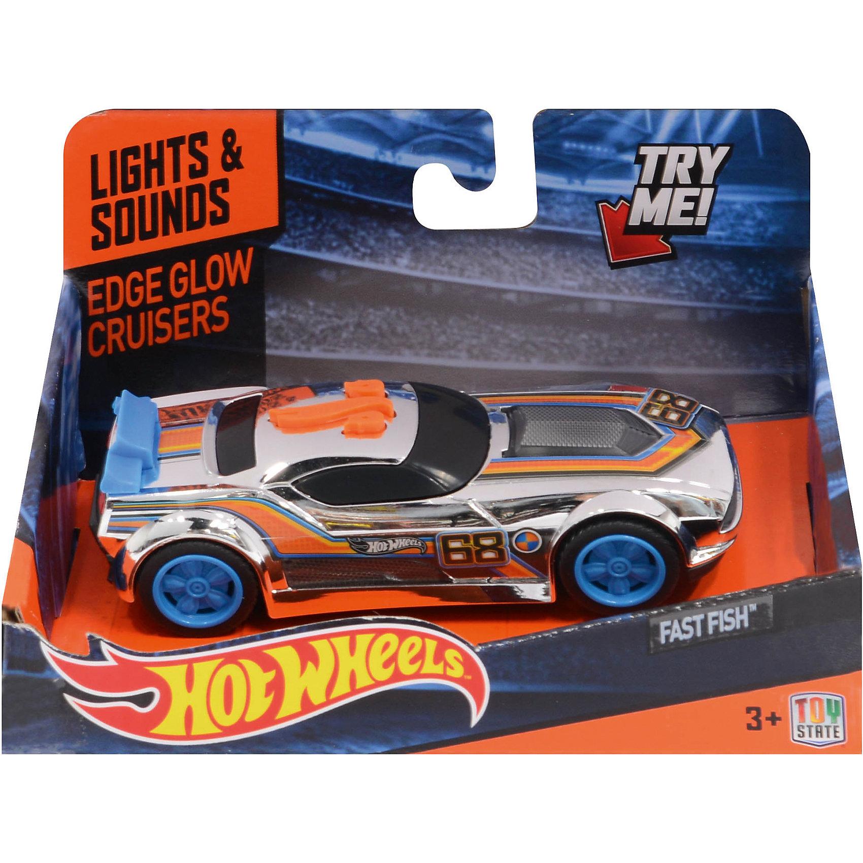 Машинка Edge Glow Cruiser - Fash Fish (свет звук), 13,5 см, Hot WheelsПопулярные игрушки<br>Характеристики товара:<br><br>- цвет: разноцветный;<br>- материал: пластик, металл;<br>- особенности: на батарейках, со звуковыми и световыми эффектами;<br>- вес: 160 г;<br>- размер упаковки: 9х13х18;<br>- батарейки: демонстрационные в комплекте;<br>- размер машинки: 13,5 см.<br><br>Какой мальчишка откажется поиграть с коллекционной машинкой Hot Wheels, которая выглядит как настоящая?! Машинка очень эффектно смотрится, она запускается нажатием кнопки. Игрушка отлично детализирована, очень качественно выполнена, поэтому она станет отличным подарком ребенку. Продается в красивой упаковке.<br>Изделия произведены из высококачественного материала, безопасного для детей.<br><br>Машинку Голубой спойлер Hot Wheels можно купить в нашем интернет-магазине.<br><br>Ширина мм: 89<br>Глубина мм: 127<br>Высота мм: 158<br>Вес г: 166<br>Возраст от месяцев: 36<br>Возраст до месяцев: 2147483647<br>Пол: Мужской<br>Возраст: Детский<br>SKU: 5066721