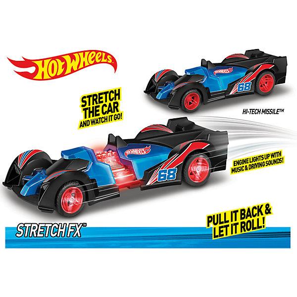 Машинка Stretch FX - Hi-Tech Missile (свет, звук), Hot WheelsМашинки<br>Характеристики товара:<br><br>- цвет: синий;<br>- материал: пластик, металл;<br>- особенности: инерционная, со световыми и звуковыми эффектами;<br>- вес: 240 г;<br>- размер упаковки: 10х11х19;<br>- размер машинки: 16 см.<br><br>Какой мальчишка откажется поиграть с коллекционной машинкой Hot Wheels, которая выглядит как настоящая?! Машинка очень эффектно смотрится, она дополнена световыми, звуковыми эффектами и инерционным механизмом. Игрушка отлично детализирована, очень качественно выполнена, поэтому она станет отличным подарком ребенку. Продается в красивой упаковке.<br>Изделия произведены из высококачественного материала, безопасного для детей.<br><br>Механическую машинку Hot Wheels можно купить в нашем интернет-магазине.<br>Ширина мм: 102; Глубина мм: 114; Высота мм: 191; Вес г: 239; Возраст от месяцев: 36; Возраст до месяцев: 2147483647; Пол: Мужской; Возраст: Детский; SKU: 5066724;