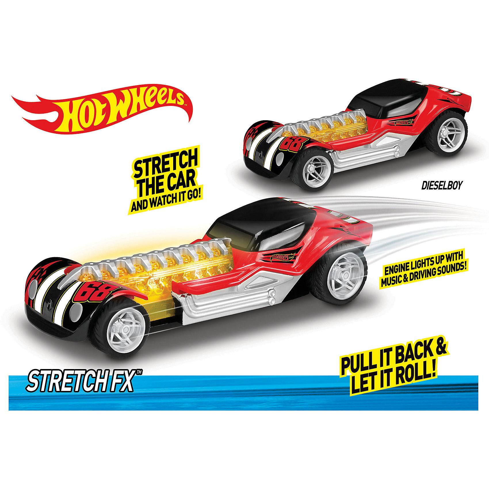 Машинка - Стретчмобиль (свет, звук), 16 см, Hot WheelsМашинки<br>Характеристики товара:<br><br>- цвет: красный;<br>- материал: пластик, металл;<br>- особенности: инерционная, со световыми и звуковыми эффектами;<br>- вес: 240 г;<br>- размер упаковки: 10х11х19;<br>- размер машинки: 16 см.<br><br>Какой мальчишка откажется поиграть с коллекционной машинкой Hot Wheels, которая выглядит как настоящая?! Машинка очень эффектно смотрится, она дополнена световыми, звуковыми эффектами и инерционным механизмом. Игрушка отлично детализирована, очень качественно выполнена, поэтому она станет отличным подарком ребенку. Продается в красивой упаковке.<br>Изделия произведены из высококачественного материала, безопасного для детей.<br><br>Механическую машинку Hot Wheels можно купить в нашем интернет-магазине.<br><br>Ширина мм: 102<br>Глубина мм: 114<br>Высота мм: 191<br>Вес г: 239<br>Возраст от месяцев: 36<br>Возраст до месяцев: 2147483647<br>Пол: Мужской<br>Возраст: Детский<br>SKU: 5066725