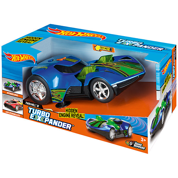 Машинка - Turbo Expander (свет, звук), синяя, 33 см, Hot WheelsПопулярные игрушки<br>Характеристики товара:<br><br>- цвет: синий;<br>- материал: пластик, металл;<br>- особенности: со световыми и звуковыми эффектами;<br>- вес: 500 г;<br>- батарейки 3хААА;<br>- размер упаковки: 30х17х19;<br>- размер машинки: 33 см.<br><br>Какой мальчишка откажется поиграть с коллекционной машинкой Hot Wheels, которая выглядит как настоящая?! Машинка очень эффектно смотрится, она дополнена световыми, звуковыми эффектами и электроприводом. Игрушка отлично детализирована, очень качественно выполнена, поэтому она станет отличным подарком ребенку. Продается в красивой упаковке.<br>Изделия произведены из высококачественного материала, безопасного для детей.<br><br>Электромеханическую машинку Hot Wheels можно купить в нашем интернет-магазине.<br><br>Ширина мм: 360<br>Глубина мм: 170<br>Высота мм: 190<br>Вес г: 512<br>Возраст от месяцев: 36<br>Возраст до месяцев: 2147483647<br>Пол: Мужской<br>Возраст: Детский<br>SKU: 5066727