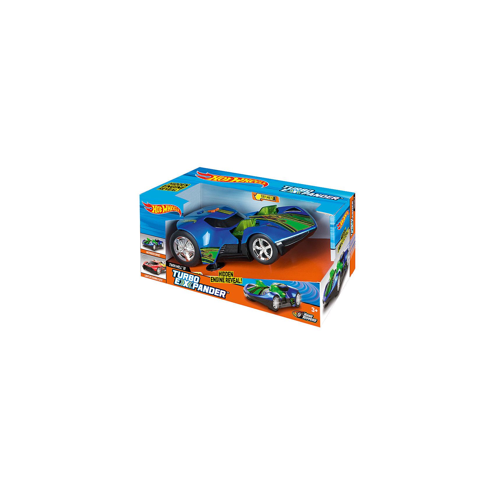 Машинка - Turbo Expander (свет, звук), синяя, 33 см, Hot WheelsХарактеристики товара:<br><br>- цвет: синий;<br>- материал: пластик, металл;<br>- особенности: со световыми и звуковыми эффектами;<br>- вес: 500 г;<br>- батарейки 3хААА;<br>- размер упаковки: 30х17х19;<br>- размер машинки: 33 см.<br><br>Какой мальчишка откажется поиграть с коллекционной машинкой Hot Wheels, которая выглядит как настоящая?! Машинка очень эффектно смотрится, она дополнена световыми, звуковыми эффектами и электроприводом. Игрушка отлично детализирована, очень качественно выполнена, поэтому она станет отличным подарком ребенку. Продается в красивой упаковке.<br>Изделия произведены из высококачественного материала, безопасного для детей.<br><br>Электромеханическую машинку Hot Wheels можно купить в нашем интернет-магазине.<br><br>Ширина мм: 360<br>Глубина мм: 170<br>Высота мм: 190<br>Вес г: 512<br>Возраст от месяцев: 36<br>Возраст до месяцев: 2147483647<br>Пол: Мужской<br>Возраст: Детский<br>SKU: 5066727