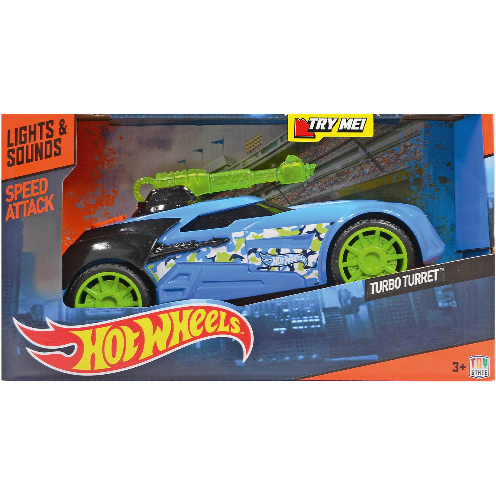 Машинка Turbo Turret - Speed Attack (свет, звук), голубая, 27 см, Hot WheelsМашинки<br>Характеристики товара:<br><br>- цвет: голубой;<br>- материал: пластик, металл;<br>- особенности: со световыми и звуковыми эффектами;<br>- вес: б00 г;<br>- на батарейках;<br>- размер упаковки: 30х17х16;<br>- размер машинки: 27 см.<br><br>Какой мальчишка откажется поиграть с коллекционной машинкой Hot Wheels, которая выглядит как настоящая?! Машинка очень эффектно смотрится, она дополнена световыми и звуковыми эффектами, работает на батарейках. Игрушка отлично детализирована, очень качественно выполнена, поэтому она станет отличным подарком ребенку. Продается в красивой упаковке.<br>Изделия произведены из высококачественного материала, безопасного для детей.<br><br>Машинку на батарейках Hot Wheels можно купить в нашем интернет-магазине.<br><br>Ширина мм: 300<br>Глубина мм: 170<br>Высота мм: 160<br>Вес г: 625<br>Возраст от месяцев: 36<br>Возраст до месяцев: 2147483647<br>Пол: Мужской<br>Возраст: Детский<br>SKU: 5066738