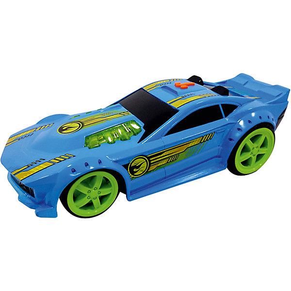 Машинка Mega Muscle - Drift Rod (свет, звук), синяя, 32,5 см, Hot WheelsПопулярные игрушки<br>Характеристики товара:<br><br>- цвет: синий;<br>- материал: пластик, металл;<br>- особенности: со световыми и звуковыми эффектами;<br>- вес: 890 г;<br>- на батарейках;<br>- размер упаковки: 18х17х38;<br>- размер машинки: 32,5 см.<br><br>Какой мальчишка откажется поиграть с коллекционной машинкой Hot Wheels, которая выглядит как настоящая?! Машинка очень эффектно смотрится, она дополнена световыми и звуковыми эффектами, работает на батарейках. Игрушка отлично детализирована, очень качественно выполнена, поэтому она станет отличным подарком ребенку. Продается в красивой упаковке.<br>Изделия произведены из высококачественного материала, безопасного для детей.<br><br>Машинку на батарейках Hot Wheels можно купить в нашем интернет-магазине.<br>Ширина мм: 380; Глубина мм: 170; Высота мм: 180; Вес г: 880; Возраст от месяцев: 36; Возраст до месяцев: 2147483647; Пол: Мужской; Возраст: Детский; SKU: 5066742;