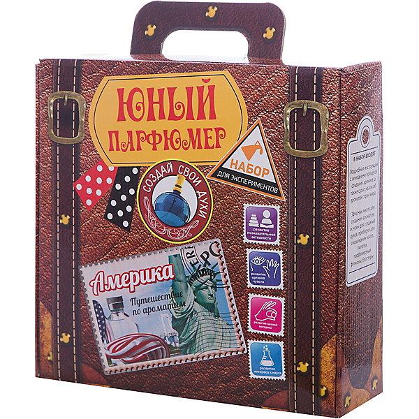 Набор для  экспериментов Юный парфюмер, Путешествие по ароматам: АмерикаНаборы для создания парфюмерии<br>Характеристики товара:<br><br>• комплектация: натуральные эфирные масла, воски, флаконы и другое парфюмерное оборудование<br>• упаковка: коробка в виде чемоданчика<br>• размер упаковки: 28х28х8 см<br>• возраст: от 8 лет<br>• развивающий<br>• страна бренда: Российская Федерация<br>• страна производства: Российская Федерация<br><br>Думаете, что подарить ребенку? Творчество - отличный способ занять детей. Это не только занимательно, но и очень полезно! С помощью такого набора ребенок сможет сам создать целых 25 различных ароматов. Нужно всего лишь следовать инструкции! Это несложно и увлекательно. Готовое изделие может стать подарком от ребенка на праздник для близких и родственников!<br>Такое занятие помогает детям развивать многие важные навыки и способности: они тренируют внимание, память, логику, мышление, мелкую моторику, творческие способности, а также усидчивость и аккуратность. Изделие производится из качественных сертифицированных материалов, безопасных даже для самых маленьких.<br><br>Набор для экспериментов Юный парфюмер, Путешествие по ароматам: Америка от бренда ВИСМА можно купить в нашем интернет-магазине.<br>Ширина мм: 280; Глубина мм: 85; Высота мм: 275; Вес г: 1111; Возраст от месяцев: 96; Возраст до месяцев: 168; Пол: Унисекс; Возраст: Детский; SKU: 5067622;
