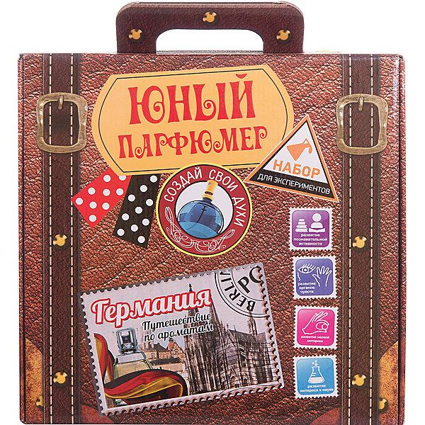 Набор для  экспериментов Юный парфюмер,Путешествие по ароматам: ГерманияНаборы для создания парфюмерии<br>Набор сделан в виде чемоданчика для путешествий, который позволит изготовить 25 ароматов.<br><br>В набор входят натуральные эфирные масла, воски, флаконы и другое парфюмерное оборудование.<br><br>Ширина мм: 280<br>Глубина мм: 85<br>Высота мм: 275<br>Вес г: 1111<br>Возраст от месяцев: 96<br>Возраст до месяцев: 168<br>Пол: Унисекс<br>Возраст: Детский<br>SKU: 5067625