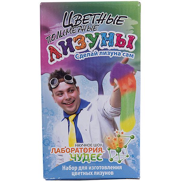 Набор для  опытов Юный химик, Цветные полимерные лизуныФизика<br>-Набор Юный химик Цветные лизуны Этот набор позволит сделать самому цветных лизунов.  Наливаем в стакан две жидкости, добавляем краситель и… вуа-ля - вынимаем готового лизуна, с которым развлекаемся как хотим!<br>В набор входит:специальный раствор, активатор слизи, флакон с красителем, размешиватель, перчатки, пипетка, стакан<br><br>Ширина мм: 100<br>Глубина мм: 95<br>Высота мм: 180<br>Вес г: 200<br>Возраст от месяцев: 120<br>Возраст до месяцев: 192<br>Пол: Унисекс<br>Возраст: Детский<br>SKU: 5067632