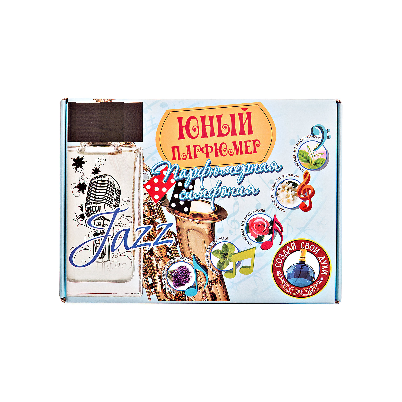 Набор Юный Парфюмер, Парфюмерная симфония ДжазКосметика, грим и парфюмерия<br>Набор Юный Парфюмер Парфюмерная симфония Джаз (с натуральными маслами пачули, жасмина, розы, мяты, лаванды, основой для духов и лабораторной посудой создай свою неповторимую симфонию )<br><br>Ширина мм: 255<br>Глубина мм: 185<br>Высота мм: 50<br>Вес г: 218<br>Возраст от месяцев: 96<br>Возраст до месяцев: 168<br>Пол: Унисекс<br>Возраст: Детский<br>SKU: 5067639