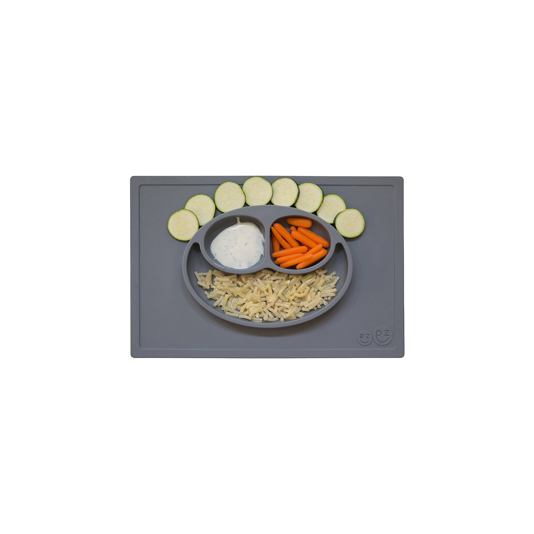 Тарелка трехсекционная с подставкой Happy Mat, 540 мл., ezpz, серыйПосуда для малышей<br>Тарелка с подставкой Happy Mat, ezpz, серый.<br><br>Характеристики:<br>• изготовлена из качественного пищевого силикона<br>• надежно крепится к столу<br>• сгибается по краям<br>• 3 отсека для еды<br>• подходит для посудомоечной машины и микроволновой печи<br>• не содержит бисфенол, свинец, фталаты, поливинилхлорид<br>• приятный дизайн<br>• состав: 100% силикон<br>• размер: 38х25,5х3 см<br>• объем: 540 мл<br>• цвет: серый<br><br>Тарелка с подставкой Happy Mat, ezpz пригодится, если в доме живут маленькие непоседы. Тарелка имеет 3 глубоких отсека, что позволяет подавать еду раздельно. Вы сможете одновременно подать к столу мясо, гарнир и фрукты, не пачкая лишнюю посуду. Дно тарелки надежно крепится к плоской поверхности - вы можете не переживать, что малыш опрокинет еду и обожжется. Приятный дизайн тарелки понравится ребенку, и он обязательно будет есть с аппетитом!<br><br>Тарелку с подставкой Happy Mat, ezpz, серый можно купить в нашем интернет-магазине.<br><br>Ширина мм: 380<br>Глубина мм: 25<br>Высота мм: 255<br>Вес г: 701<br>Возраст от месяцев: 0<br>Возраст до месяцев: 36<br>Пол: Унисекс<br>Возраст: Детский<br>SKU: 5068703