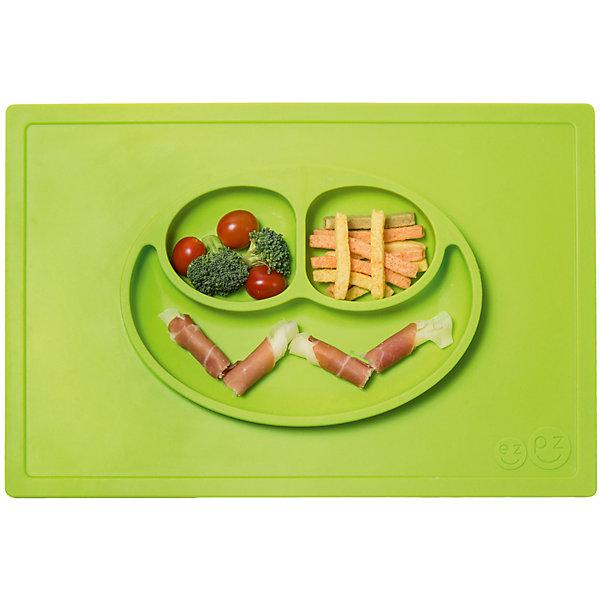 Тарелка трехсекционная с подставкой Happy Mat, 540 мл., ezpz, зеленыйДетская посуда<br>Тарелка с подставкой Happy Mat, ezpz, зеленый.<br><br>Характеристики:<br>• изготовлена из качественного пищевого силикона<br>• надежно крепится к столу<br>• сгибается по краям<br>• 3 отсека для еды<br>• подходит для посудомоечной машины и микроволновой печи<br>• не содержит бисфенол, свинец, фталаты, поливинилхлорид<br>• приятный дизайн<br>• состав: 100% силикон<br>• размер: 38х25,5х3 см<br>• объем: 540 мл<br>• цвет: зеленый<br><br>Тарелка с подставкой Happy Mat, ezpz пригодится, если в доме живут маленькие непоседы. Тарелка имеет 3 глубоких отсека, что позволяет подавать еду раздельно. Вы сможете одновременно подать к столу мясо, гарнир и фрукты, не пачкая лишнюю посуду. Дно тарелки надежно крепится к плоской поверхности - вы можете не переживать, что малыш опрокинет еду и обожжется. Приятный дизайн тарелки понравится ребенку, и он обязательно будет есть с аппетитом!<br><br>Тарелку с подставкой Happy Mat, ezpz, зеленый можно купить в нашем интернет-магазине.<br><br>Ширина мм: 380<br>Глубина мм: 25<br>Высота мм: 255<br>Вес г: 701<br>Возраст от месяцев: 0<br>Возраст до месяцев: 36<br>Пол: Унисекс<br>Возраст: Детский<br>SKU: 5068704