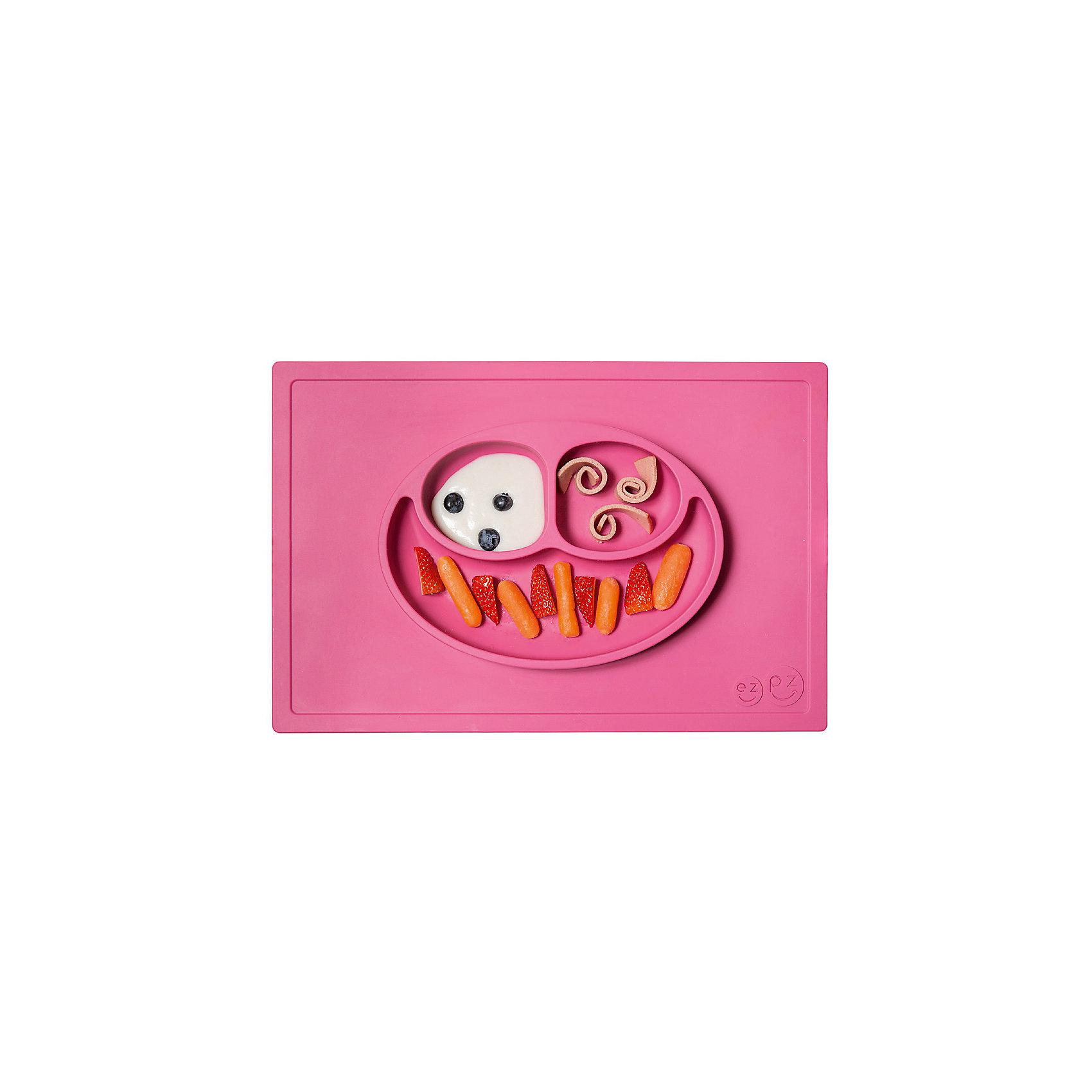 Тарелка трехсекционная с подставкой Happy Mat, 540 мл., ezpz, розовыйПосуда для малышей<br>Тарелка с подставкой Happy Mat, ezpz, розовый.<br><br>Характеристики:<br>• изготовлена из качественного пищевого силикона<br>• надежно крепится к столу<br>• сгибается по краям<br>• 3 отсека для еды<br>• подходит для посудомоечной машины и микроволновой печи<br>• не содержит бисфенол, свинец, фталаты, поливинилхлорид<br>• приятный дизайн<br>• состав: 100% силикон<br>• размер: 38х25,5х3 см<br>• объем: 540 мл<br>• цвет: розовый <br><br>Тарелка с подставкой Happy Mat, ezpz пригодится, если в доме живут маленькие непоседы. Тарелка имеет 3 глубоких отсека, что позволяет подавать еду раздельно. Вы сможете одновременно подать к столу мясо, гарнир и фрукты, не пачкая лишнюю посуду. Дно тарелки надежно крепится к плоской поверхности - вы можете не переживать, что малыш опрокинет еду и обожжется. Приятный дизайн тарелки понравится ребенку, и он обязательно будет есть с аппетитом!<br><br>Тарелку с подставкой Happy Mat, ezpz, розовый можно купить в нашем интернет-магазине.<br><br>Ширина мм: 380<br>Глубина мм: 25<br>Высота мм: 255<br>Вес г: 701<br>Возраст от месяцев: 0<br>Возраст до месяцев: 36<br>Пол: Унисекс<br>Возраст: Детский<br>SKU: 5068705