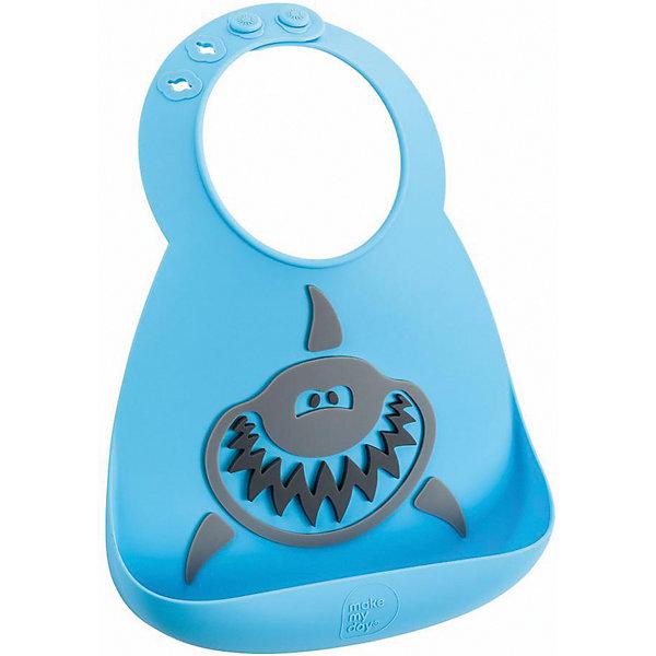 Нагрудник Make my day, SharkНагрудники и салфетки<br>Нагрудник Make my day, Shark.<br><br>Характеристики:<br>• изготовлен из качественного гипоаллергенного силикона<br>• имеет удобный карман для крошек и кусочков пищи<br>• не содержит фталаты, бисфенол-А и ПВХ<br>• регулируемая застежка<br>• легко моется и подходит для посудомоечной машины<br>• высокая гибкость <br>• оригинальный дизайн<br>• состав: 100% пищевой силикон<br>• размер: 24х21 см<br>• размер упаковки: 24,5x21x4,5 см<br>• цвет: голубой/серый<br><br>Нагрудник Make my day изготовлен из высококачественного пищевого силикона и имеет регулируемую застежку, благодаря чему нагрудник не натирает нежную кожу шеи малыша. Вместительный карман снизу защитит одежду ребенка от попадания воды и пищи. Высокая гибкость нагрудника делает его компактным для хранения. Нагрудник легко отмывается водой с мылом или в посудомоечной машине. Приятный дизайн в виде зубастой акулы порадует и малыша, и взрослых. С таким очаровательным нагрудником каждый прием пищи будет в радость!<br><br>Нагрудник Make my day, Shark можно купить в нашем интернет-магазине.<br><br>Ширина мм: 210<br>Глубина мм: 45<br>Высота мм: 245<br>Вес г: 289<br>Возраст от месяцев: 0<br>Возраст до месяцев: 36<br>Пол: Унисекс<br>Возраст: Детский<br>SKU: 5068730