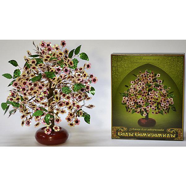 Набор для творчества Сады Семирамиды МагнолияДеревья и картины из пайеток<br>Серия «Сады Семирамиды» представляют собой комплект необходимых<br>материалов, используя которые можно создать своё «Волшебное дерево» из каждого набора. Наборы предназначены для семейного творчества.<br><br>Ширина мм: 14<br>Глубина мм: 3<br>Высота мм: 17<br>Вес г: 380<br>Возраст от месяцев: 84<br>Возраст до месяцев: 192<br>Пол: Унисекс<br>Возраст: Детский<br>SKU: 5068882