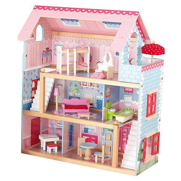 Кукольный домик Открытый коттедж (Chelsea), с мебелью, 19 пр., KidKraftДомики для кукол<br>Кукольный домик Открытый коттедж (Chelsea), с мебелью, 19 предметов, KidKraft (КидКрафт).<br><br>Характеристики:<br><br>•Материал: дерево, МДФ, текстиль.<br>•Дом частично открытый (задняя стенка глухая, лицевая часть полностью открыта).<br>•3 этажа, 5 просторных комнат, балкон.<br>•Цвет: розово-голубой.<br>•Укомплектован мебелью и аксессуарами.<br>•Подходит для кукол высотой до 15 см. <br>•Конструкция продается в разобранном виде.<br>•Размер игрушки в собранном виде - 55х33х71 см.<br>•Размер упаковки - 66х43х12 см.<br>•Вес: 10 кг.<br><br>В комплекте:<br><br>• 19 предметов интерьера: белый рояль, пуф; плита, холодильник, круглый стол и 2 стула; унитаз, ванна, диван, журнальный столик, торшер, 2-ярусная кровать с 2-мя наборами постельного белья и лестницей, туалетный столик с круглым табуретом; зонт, защищающий от солнца, каркас домика.<br>• Инструкция по сборке.<br><br>Кукольный домик Открытый коттедж (Chelsea), с мебелью KidKraft (КидКрафт) – это игрушка - мечта от американского производителя. В доме 3 этажа, 5 просторных комнат, 1 балкон. В доме 5 комнат: на первом этаже – комната отдыха и кухня, на втором этаже – гостиная и ванная, на третьем этаже – спальня. На 3-м этаже домика расположен небольшой балкон. Этажи соединяют 2 белоснежные лестницы. Входная дверь располагается на левом боковом фасаде. Дверь можно открыть и закрыть. Также на боковых фасадах по обе стороны домика располагаются окна с красными раскрывающимися ставнями. Юная леди, проявив фантазию, самостоятельно может расположить комнаты по своему вкусу. Игры с таким домиком помогают развить в девочке фантазию, творческие способности, поможет ребенку почувствовать себя взрослой и самостоятельной. Материалы, из которых изготовлен домик, полностью соответствуют российским стандартам безопасности. <br><br>Кукольный домик Открытый коттедж (Chelsea), с мебелью KidKraft (КидКрафт), можно купить в нашем интернет – магази