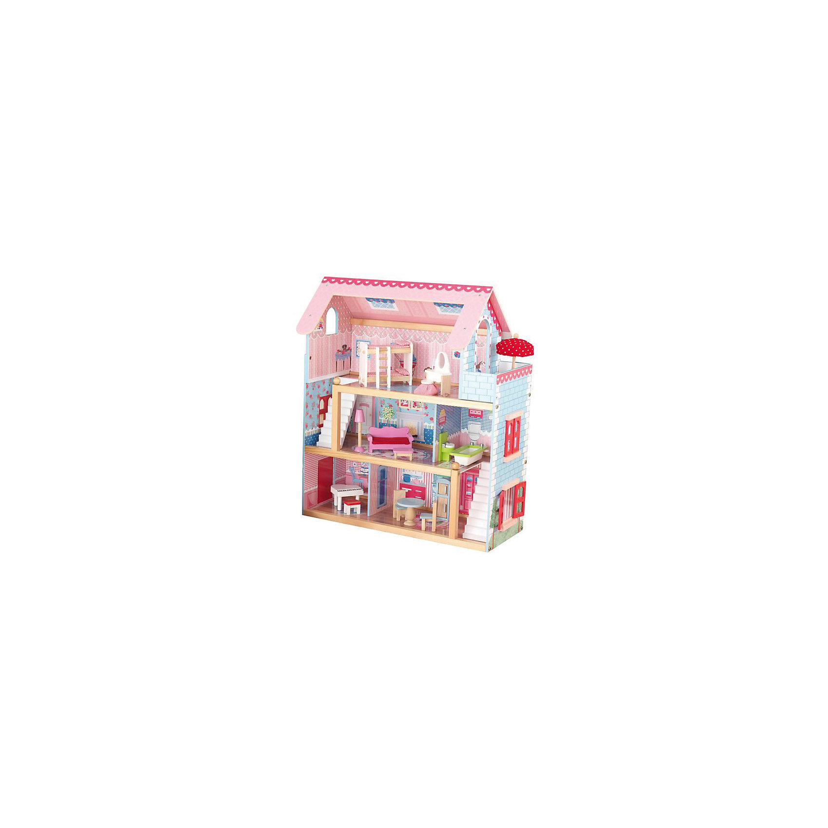 KidKraft Кукольный домик Открытый коттедж (Chelsea), с мебелью, 19 пр., KidKraft куплю дом или коттедж в солотче