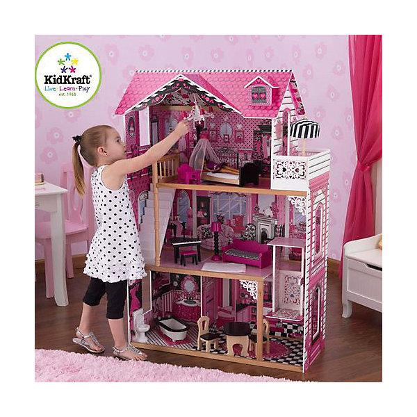 Кукольный домик для Барби с мебелью Амелия, KidKraftДомики для кукол<br>Кукольный домик для Барби Амелия с мебелью, KidKraft (КидКрафт).<br><br>Характеристики:<br><br>? Материал: дерево, МДФ, текстиль, пластик.<br>? Дом частично открытый (задняя стенка глухая, лицевая часть полностью открыта).<br>? 3 этажа, 4 просторных комнаты балкон.<br>? Цвет: бежево -розовый.<br>? Укомплектован мебелью и аксессуарами.<br>? Подходит для кукол высотой до 30см. <br>? Конструкция продается в разобранном виде.<br>? Размер игрушки в собранном виде - 80х33х117 см.<br>? Размер упаковки - 97х57х18 см.<br>? Вес: 12 кг.<br><br>В комплекте:<br><br>• 15 предметов интерьера: ванна, унитаз, большой обеденный стол, 2 стула, диван, торшер, пианино, табурет, мягкий ковер, кровать с балдахином, прикроватная тумбочка, резная люстра, зонт от солнца на балконе. <br>• Инструкция по сборке.<br><br>Кукольный домик для Барби с мебелью Амелия, KidKraft (КидКрафт) – это игрушка - мечта от американского производителя. Домик выполнен в бежево – розовых тонах с ярко-розовой крышей, имитирующей черепичную кладку. Внутренние стены детально декорированы, причем декор у каждого помещения уникален. Стены «оклеены» обоями разных цветов и фактур. На стенах нарисованы дополнительные элементы интерьера. Пол декорирован под различные типы покрытий - плитка, ковролин. В доме 3 этажа, 4 просторных комнаты. На первом этаже расположены ванная и столовая. На втором этаже – гостиная. На третьем – спальня, а также балкон с ажурными перилами. Домик оснащен лифтом на ручном управлении. Второй и третий этажи соединяет белоснежная лестница. Юная леди, проявив фантазию, самостоятельно может обставить комнаты по своему вкусу. Игры с таким домиком помогают развить в девочке фантазию, творческие способности, поможет ребенку почувствовать себя взрослой и самостоятельной хозяйкой. Материалы, из которых изготовлен домик, полностью соответствуют российским стандартам безопасности.<br><br>Кукольный домик для Барби Амелия с мебелью, KidKra
