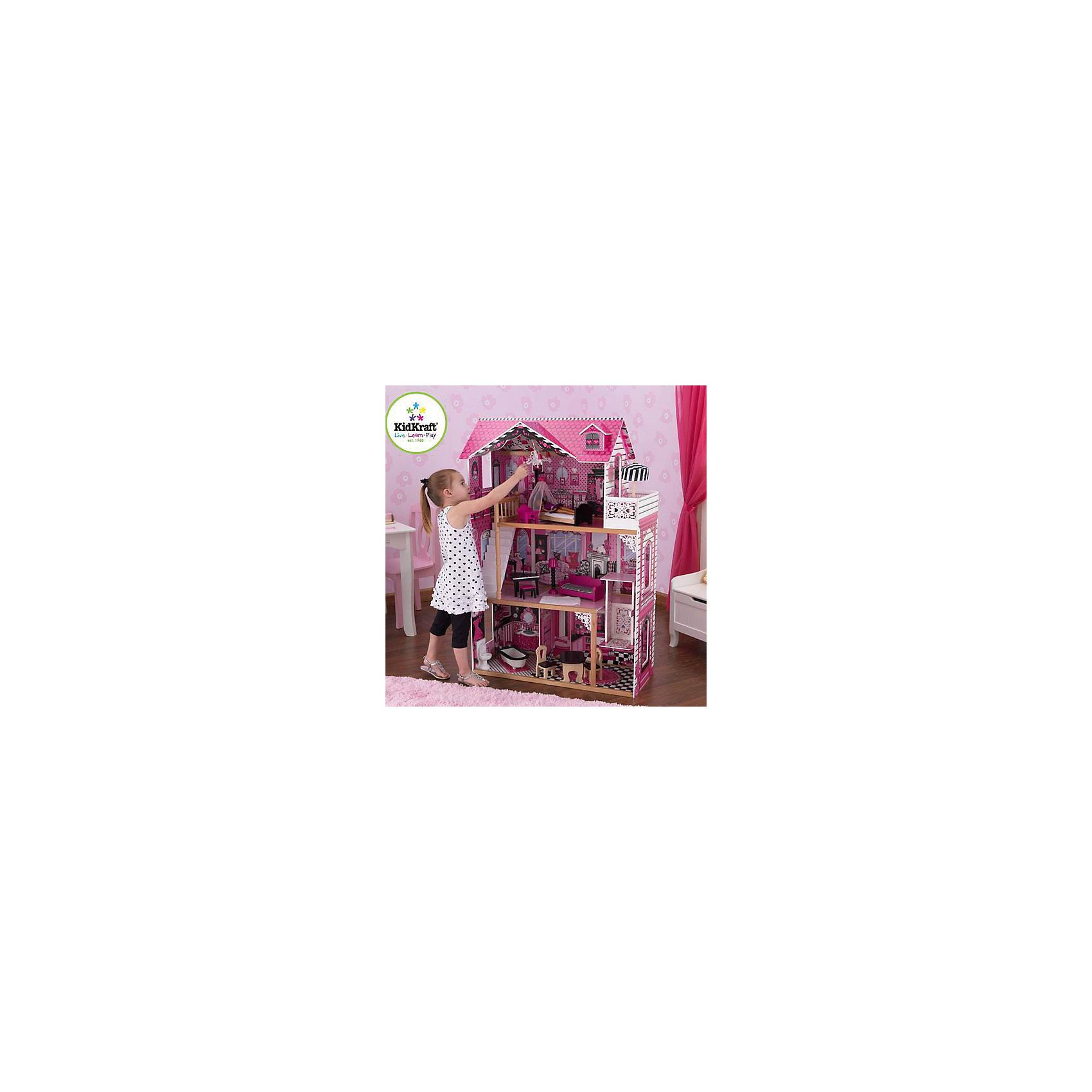 KidKraft Кукольный домик для Барби с мебелью Амелия, KidKraft kidkraft кукольный домик амелия с мебелью 14 элементов