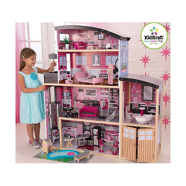 Большой кукольный дом для Барби Сияние (Sparkle Mansion),  с мебелью, 30 пр., KidKraftДомики для кукол<br>Большой кукольный дом для Барби Сияние с мебелью, KidKraft (КидКрафт).<br><br>Характеристики:<br><br>•Материал: дерево, МДФ, текстиль, пластик.<br>•Дом частично открытый (задняя стенка глухая, лицевая часть полностью открыта).<br>•4 этажа, 5 просторных комнаты, гараж, балкон, лифт, лестница.<br>•Цвет: розовый.<br>•Укомплектован мебелью и аксессуарами.<br>•Интерактивные элементы, бассейн.<br>•Подходит для кукол высотой до 30см. <br>•Конструкция продается в разобранном виде.<br>•Размер игрушки в собранном виде - 126х65х135 см.<br>•Размер упаковки - 96х57х23см.<br>•Вес: 25 кг.<br><br>В комплекте:<br><br>• 30 предметов интерьера: ванна, унитаз, умывальник, кровать, диван, кресло, напольное зеркало, гладильная доска, утюг, синтезатор, кухонная мебель, шезлонг с матрасом, садовый гриль, настольная лампа, торт, люстра для спальни, бассейн, торшер с подсветкой и многое другое.<br>• Инструкция по сборке.<br><br>Большой кукольный дом для Барби Сияние с мебелью, KidKraft (КидКрафт) – это игрушка - мечта от американского производителя. В доме 4 этажа, 5 просторных комнат. На первом этаже кукол встретит большая кухня со столовой, второй этаж отдан под стильную гостиную, из которой можно попасть в крыло с ванной комнатой, третий этаж отдан под спальню с небольшой открытой террасой. На четвертом этаже - комната отдыха с изогнутой крышей. Застекленный лифт курсирует между первым и вторым этажом. Винтовая лестница «под сталь» соединяет второй и третий этажи. <br>Уникальность домику «Сияние» придает меблировка. Домик комплектуется тридцатью предметами мебели и декора, включая два интерактивных элемента – торшер с подсветкой и синтезатор с озвучкой, а также бассейн. Юная леди, проявив фантазию, самостоятельно может обставить комнаты по своему вкусу. Игры с таким домиком помогают развить в девочке фантазию, творческие способности, поможет ребенку почувствовать себя взрослой и самос