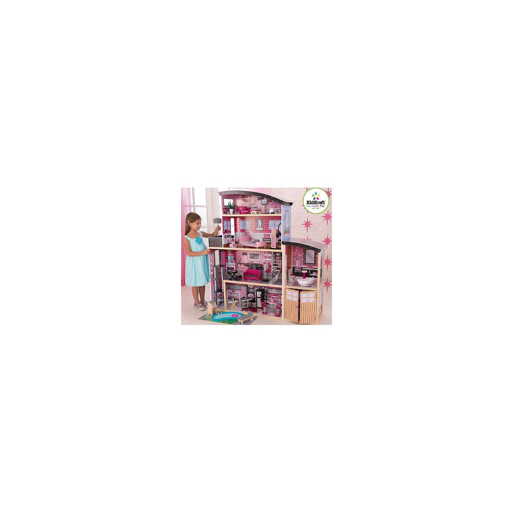 Большой кукольный дом для Барби Сияние (Sparkle Mansion),  с мебелью, 30 пр., KidKraftБольшой кукольный дом для Барби Сияние с мебелью, KidKraft (КидКрафт).<br><br>Характеристики:<br><br>•Материал: дерево, МДФ, текстиль, пластик.<br>•Дом частично открытый (задняя стенка глухая, лицевая часть полностью открыта).<br>•4 этажа, 5 просторных комнаты, гараж, балкон, лифт, лестница.<br>•Цвет: розовый.<br>•Укомплектован мебелью и аксессуарами.<br>•Интерактивные элементы, бассейн.<br>•Подходит для кукол высотой до 30см. <br>•Конструкция продается в разобранном виде.<br>•Размер игрушки в собранном виде - 126х65х135 см.<br>•Размер упаковки - 96х57х23см.<br>•Вес: 25 кг.<br><br>В комплекте:<br><br>• 30 предметов интерьера: ванна, унитаз, умывальник, кровать, диван, кресло, напольное зеркало, гладильная доска, утюг, синтезатор, кухонная мебель, шезлонг с матрасом, садовый гриль, настольная лампа, торт, люстра для спальни, бассейн, торшер с подсветкой и многое другое.<br>• Инструкция по сборке.<br><br>Большой кукольный дом для Барби Сияние с мебелью, KidKraft (КидКрафт) – это игрушка - мечта от американского производителя. В доме 4 этажа, 5 просторных комнат. На первом этаже кукол встретит большая кухня со столовой, второй этаж отдан под стильную гостиную, из которой можно попасть в крыло с ванной комнатой, третий этаж отдан под спальню с небольшой открытой террасой. На четвертом этаже - комната отдыха с изогнутой крышей. Застекленный лифт курсирует между первым и вторым этажом. Винтовая лестница «под сталь» соединяет второй и третий этажи. <br>Уникальность домику «Сияние» придает меблировка. Домик комплектуется тридцатью предметами мебели и декора, включая два интерактивных элемента – торшер с подсветкой и синтезатор с озвучкой, а также бассейн. Юная леди, проявив фантазию, самостоятельно может обставить комнаты по своему вкусу. Игры с таким домиком помогают развить в девочке фантазию, творческие способности, поможет ребенку почувствовать себя взрослой и самостоятельной хозяйкой.