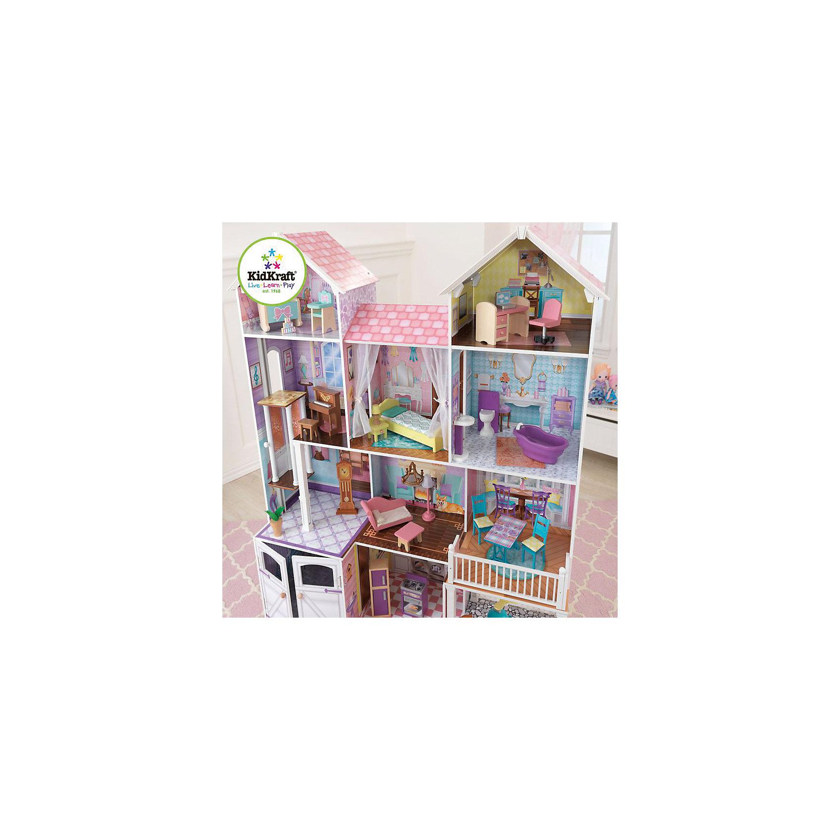 Дом для кукол до 32 см «Загородная усадьба» (Country Estate), с мебелью, KidKraftДом для кукол «Загородная усадьба» с мебелью, KidKraft (КидКрафт).<br><br>Характеристики:<br><br>•Материал: дерево, МДФ, текстиль, пластик.<br>•Дом частично открытый (задняя стенка глухая, лицевая часть полностью открыта).<br>•4 этажа, 5 просторных комнаты, гараж, балкон, лифт, лестница.<br>•Цвет: розовый.<br>•Укомплектован мебелью и аксессуарами.<br>•Интерактивные элементы, бассейн.<br>•Подходит для кукол высотой до 32см. <br>•Конструкция продается в разобранном виде.<br>•Размер игрушки в собранном виде - 119 x 53 x 134см.<br>•Размер упаковки - 96х57х23см.<br>•Вес: 31кг.<br><br>В комплекте:<br><br>• 30 предметов интерьера: плита и холодильник (на кухне), вентилятор, 2 кресла, гриль со съемной крышкой (на веранде), стол и 2 стула (в столовой), люстра, софа, журнальный столик и торшер (в гостиной), напольные цветы и горшок с цветком у лифта, ванна, унитаз и раковина (в ванной комнате), кровать, тумбочка и настольная лампа (в спальне), пианино с пуфиком (в библиотеке), стул, письменный стол и ноутбук (в кабинете), стул для кормления, люлька и игрушечные кубики (в детской). <br>• Инструкция по сборке.<br><br>Дом для кукол «Загородная усадьба» с мебелью, KidKraft (КидКрафт)– это игрушка - мечта от американского производителя. Большой деревянный дом с гаражом, верандой и 2-умя мансардными комнатами. В кукольной усадьбе 4 этажа и 9 комнат. На первом этаже располагаются встроенный гараж, кухня и веранда, на втором – гостиная и столовая, на третьем – библиотека, спальня и ванная комната, на четвертом – детская и кабинет. В доме есть очень стильный механический лифт. Уникальность домику придает меблировка. Домик комплектуется тридцатью предметами мебели и декора, включая два интерактивных элемента – торшер с подсветкой и унитаз с имитацией звука смыва. Юная леди, проявив фантазию, самостоятельно может обставить комнаты по своему вкусу. Игры с таким домиком помогают развить в девочке фантазию, тв