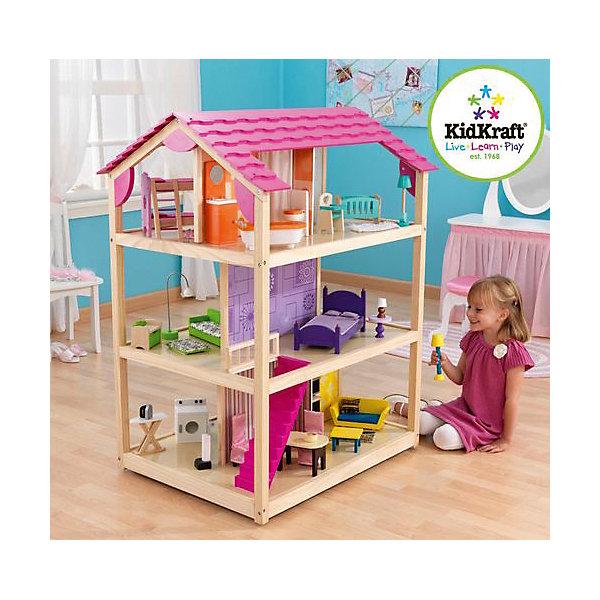 Кукольный домик для Барби Самый роскошный (So Chic), с мебелью, 45 пр., на колесиках, KidKraftДомики для кукол<br>Кукольный домик для Барби Самый роскошный на колесиках, KidKraft (КидКрафт).<br><br>Характеристики:<br>•Материал: дерево, МДФ, текстиль, пластик.<br>•Дом полностью открытый (игровые поверхности по всему периметру домика).<br>•3 этажа, 10 просторных комнаты, лестницы.<br>•Цвет: розовый.<br>•Укомплектован мебелью и аксессуарами (45 элементов).<br>•В основании домика устанавливаются колесики для возможности его вращения (для игры в ограниченном пространстве) и легкого перемещения по комнате.<br>•Подходит для кукол высотой до 30см. <br>•Конструкция продается в разобранном виде. (Инструкция прилагается).<br>•Размер игрушки в собранном виде - 87х76х118 см.<br>•Размер упаковки - 100х75х25 см.<br>•Вес: 33 кг.<br><br>Кукольный домик для Барби Самый роскошный на колесиках, KidKraft (КидКрафт) – это самый большой кукольный домик в линейке KidKraft (КидКрафт). Это полностью открытый дом с игровыми зонами по всему периметру. В домике 3 этажа, 10 комнат, каждая из которых выполнена в отдельном неповторяющемся дизайне. На первом этаже располагаются комната отдыха, столовая, кухня и прачечная, на втором – художественная гостиная и спальня, на третьем – ванная комната, комната новорожденного, детская спальня и рабочий кабинет. Этажи между собой соединены большими розовыми лестницами. <br>Главной особенностью такого домика является то, что к основанию крепятся колесики, благодаря которым домик легко вращается и передвигается. Вращая дом можно менять игровые зоны, что очень удобно при ограниченном пространстве помещения, в котором установлена игрушка. Даже если дом установлен в центре детской комнаты, и к любой стороне домика подход не ограничен, возможность его быстрого перемещения упростит процесс эксплуатации игрушки. Материалы, из которых изготовлен домик, полностью соответствуют российским стандартам безопасности. <br><br>Кукольный домик для Барби Самый роскошный на к
