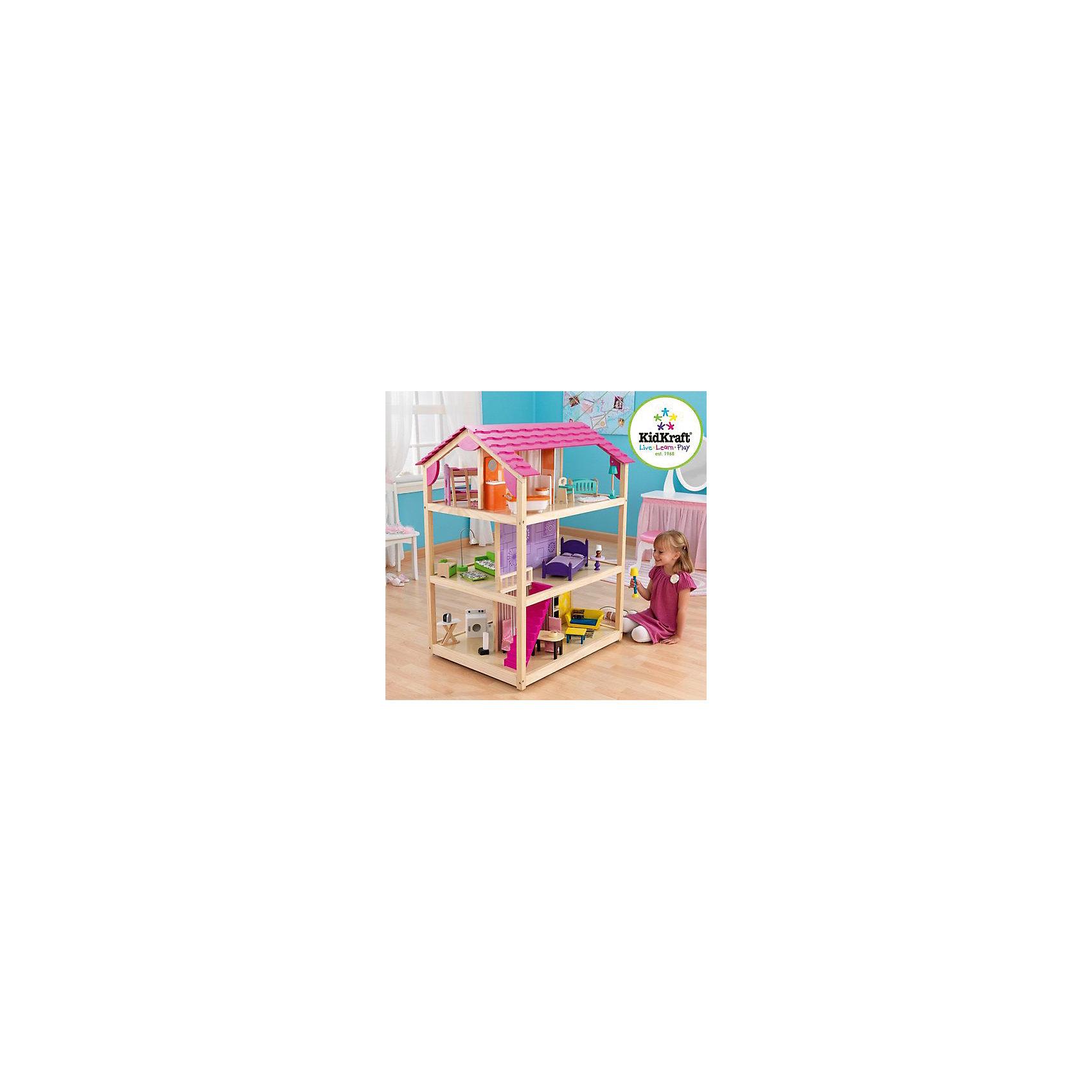 Кукольный домик для Барби Самый роскошный (So Chic), с мебелью, 45 пр., на колесиках, KidKraftДомики и мебель<br>Кукольный домик для Барби Самый роскошный на колесиках, KidKraft (КидКрафт).<br><br>Характеристики:<br>•Материал: дерево, МДФ, текстиль, пластик.<br>•Дом полностью открытый (игровые поверхности по всему периметру домика).<br>•3 этажа, 10 просторных комнаты, лестницы.<br>•Цвет: розовый.<br>•Укомплектован мебелью и аксессуарами (45 элементов).<br>•В основании домика устанавливаются колесики для возможности его вращения (для игры в ограниченном пространстве) и легкого перемещения по комнате.<br>•Подходит для кукол высотой до 30см. <br>•Конструкция продается в разобранном виде. (Инструкция прилагается).<br>•Размер игрушки в собранном виде - 87х76х118 см.<br>•Размер упаковки - 100х75х25 см.<br>•Вес: 33 кг.<br><br>Кукольный домик для Барби Самый роскошный на колесиках, KidKraft (КидКрафт) – это самый большой кукольный домик в линейке KidKraft (КидКрафт). Это полностью открытый дом с игровыми зонами по всему периметру. В домике 3 этажа, 10 комнат, каждая из которых выполнена в отдельном неповторяющемся дизайне. На первом этаже располагаются комната отдыха, столовая, кухня и прачечная, на втором – художественная гостиная и спальня, на третьем – ванная комната, комната новорожденного, детская спальня и рабочий кабинет. Этажи между собой соединены большими розовыми лестницами. <br>Главной особенностью такого домика является то, что к основанию крепятся колесики, благодаря которым домик легко вращается и передвигается. Вращая дом можно менять игровые зоны, что очень удобно при ограниченном пространстве помещения, в котором установлена игрушка. Даже если дом установлен в центре детской комнаты, и к любой стороне домика подход не ограничен, возможность его быстрого перемещения упростит процесс эксплуатации игрушки. Материалы, из которых изготовлен домик, полностью соответствуют российским стандартам безопасности. <br><br>Кукольный домик для Барби Самый роскошный на ко
