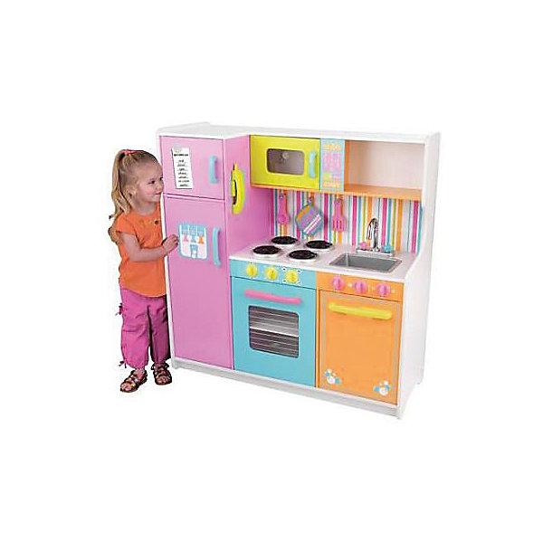 Большая детская игровая кухня «Делюкс» (Deluxe Big &amp; Bright Kitchen), KidKraftДетские кухни<br>Большая детская игровая кухня «Делюкс», KidKraft (КидКрафт).<br><br>Характеристики:<br><br>? Материал: дерево, МДФ, текстиль.<br>? Все модули выстроены в ряд.<br>? Все дверцы открываются ( в холодильник можно положить игрушечные продукты, в духовку поставить выпечку).<br>? Цвет: разноцветная.<br>? Без интерактивных элементов.<br>? Конструкция продается в разобранном виде. Инструкция по сборке входит в комплект.<br>? Размер игрушки в собранном виде - 107х44х109 см.<br>? Размер упаковки - 125х53х23 см.<br>? Вес: 40 кг.<br>В комплекте:<br>• лопатка, телефонный аппарат, прихватка, половник, меловая доска для записи памяток;<br>• каркас кухни.<br><br>Большая детская игровая кухня «Делюкс», KidKraft (КидКрафт) – это мечта каждой девочки! Это действительно большая игрушечная кухня для девочек, выполненная из натурального и безопасного для малышки материала, из древесины. «Делюкс» привлекает внимание пестротой своей раскраски. Розовый и голубой, оранжевый, желтый и салатный – все эти цвета призваны не просто порадовать маленькую хозяйку, но и стать для нее источником хорошего настроения. Несомненно, Ваша девочка получит огромное удовольствие, примеряя на себя роль хозяйки, в настоящей кухне «Делюкс», KidKraft (КидКрафт)!<br>Кухня Делюкс тщательно детализирована. Наличие спиралей накала на электроплите, рукояток у смесителя и панелей управления бытовой техникой – все это максимально приближает кухню к «настоящей», «как у мамы». Всю кухню «Делюкс» можно разделить на несколько функциональных модулей. Слева устанавливается двухкамерный холодильник с верхней морозильной камерой и выносными ручками для открывания/закрывания дверец. Средний модуль представлен встроенной в верхнюю полку микроволновой печью с электронным сенсорным управлением и электроплитой с прозрачной открывающейся дверцей. Верхняя часть правого кухонного модуля – открытая полка для посуды, средняя часть – это выним
