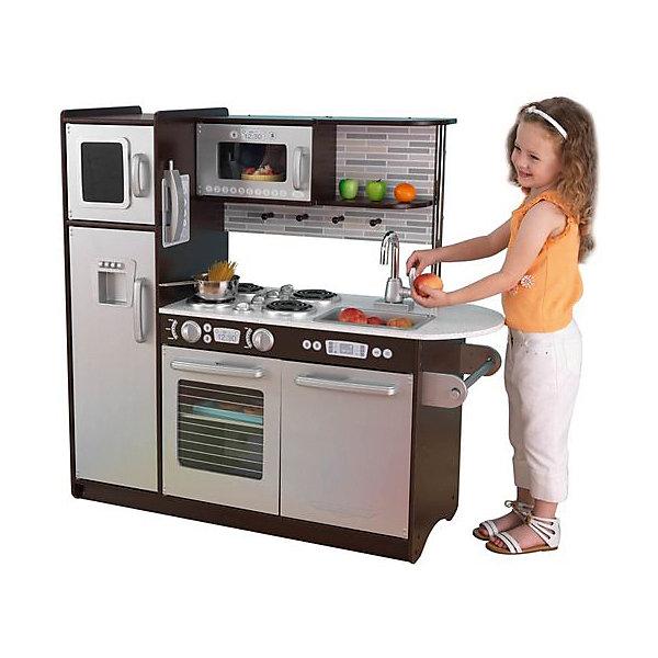 Деревянная кухня «Эспрессо» (Uptown Espresso Kitchen), KidKraftДетские кухни<br>Деревянная кухня «Эспрессо», KidKraft (КидКрафт).<br><br>Характеристики:<br>•Материал: дерево.<br>•Все модули выстроены в ряд.<br>•Все дверцы открываются.<br>•Цвет: стальной серый, венге.<br>•Без интерактивных элементов.<br>•Конструкция продается в разобранном виде. Инструкция по сборке входит в комплект.<br>•Размер игрушки в собранном виде - 109х45х104 см.<br>•Размер упаковки - 119х50х22 см.<br>•Вес: 36 кг.<br><br>ВНИМАНИЕ! Посуда и игрушечные продукты в комплект не входят.<br><br>Деревянная кухня «Эспрессо», KidKraft (КидКрафт) – выглядит, как уменьшенная копия настоящей современной «взрослой» кухни в стиле хай-тек, со свойственными ему лаконизмом, строгим дизайном и холодными цветами. Строгий серый цвет фасадов эффектно сочетается с венге, которым окрашены полки и корпус кухни. Задняя стенка рабочей зоны декорирована изображением кирпичной кладки, а все бытовые приборы имеют детализированные модули управления - кнопки, дисплеи. Всю кухню «Эспрессо» можно разделить на несколько функциональных модулей. Слева устанавливается двухкамерный холодильник с верхней морозильной камерой и выносными ручками для открывания/закрывания дверец. Средний модуль представлен встроенной в верхнюю полку микроволновой печью с электронным сенсорным управлением и электроплитой с прозрачной открывающейся дверцей. Верхняя часть правого кухонного модуля – открытая полка для посуды, средняя часть – это вынимающаяся из столешницы мойка и смеситель с двумя вращающимися рукоятками, а нижняя – посудомойка с открывающейся дверцей. Оригинально выполнена правая часть столешницы. Она выступает за край нижнего мебельного модуля и образует полукруг, удобный для приготовления пищи. Под столешницей предусмотрен держатель для бумажных полотенец. <br>Игры с кухней «Эспрессо» KidKraft открывают самые широкие возможности для детского творчества, позволяя ребенку чувствовать себя настоящей домохозяйкой или заправским шеф-поваром!