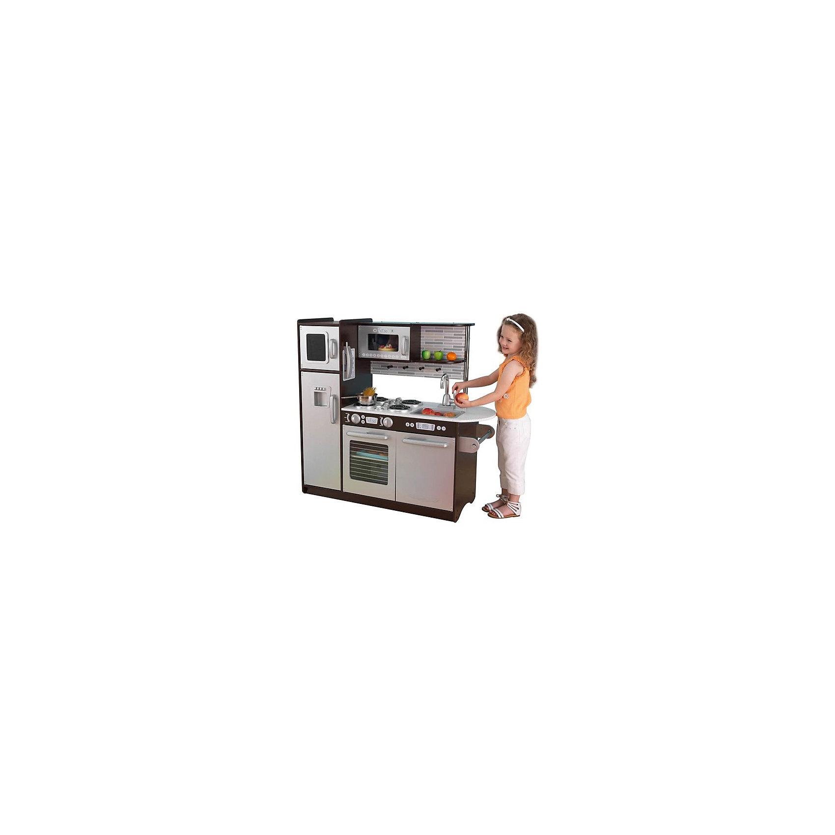 Деревянная кухня «Эспрессо» (Uptown Espresso Kitchen), KidKraftДеревянные кухни<br>Деревянная кухня «Эспрессо», KidKraft (КидКрафт).<br><br>Характеристики:<br>•Материал: дерево.<br>•Все модули выстроены в ряд.<br>•Все дверцы открываются.<br>•Цвет: стальной серый, венге.<br>•Без интерактивных элементов.<br>•Конструкция продается в разобранном виде. Инструкция по сборке входит в комплект.<br>•Размер игрушки в собранном виде - 109х45х104 см.<br>•Размер упаковки - 119х50х22 см.<br>•Вес: 36 кг.<br><br>ВНИМАНИЕ! Посуда и игрушечные продукты в комплект не входят.<br><br>Деревянная кухня «Эспрессо», KidKraft (КидКрафт) – выглядит, как уменьшенная копия настоящей современной «взрослой» кухни в стиле хай-тек, со свойственными ему лаконизмом, строгим дизайном и холодными цветами. Строгий серый цвет фасадов эффектно сочетается с венге, которым окрашены полки и корпус кухни. Задняя стенка рабочей зоны декорирована изображением кирпичной кладки, а все бытовые приборы имеют детализированные модули управления - кнопки, дисплеи. Всю кухню «Эспрессо» можно разделить на несколько функциональных модулей. Слева устанавливается двухкамерный холодильник с верхней морозильной камерой и выносными ручками для открывания/закрывания дверец. Средний модуль представлен встроенной в верхнюю полку микроволновой печью с электронным сенсорным управлением и электроплитой с прозрачной открывающейся дверцей. Верхняя часть правого кухонного модуля – открытая полка для посуды, средняя часть – это вынимающаяся из столешницы мойка и смеситель с двумя вращающимися рукоятками, а нижняя – посудомойка с открывающейся дверцей. Оригинально выполнена правая часть столешницы. Она выступает за край нижнего мебельного модуля и образует полукруг, удобный для приготовления пищи. Под столешницей предусмотрен держатель для бумажных полотенец. <br>Игры с кухней «Эспрессо» KidKraft открывают самые широкие возможности для детского творчества, позволяя ребенку чувствовать себя настоящей домохозяйкой или заправским шеф-повар