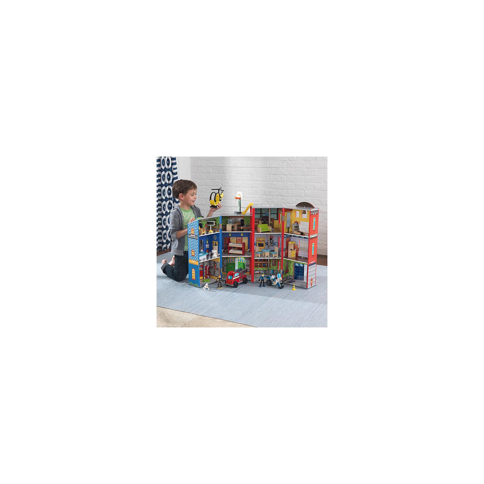 Игровой набор Здание спасательной службы, 28 эл., KidKraftИгровые наборы<br>Игровой набор Здание спасательной службы, KidKraft (КидКрафт).<br><br>Характеристики:<br>? Материал: дерево, МДФ, пластик, текстиль.<br>? Цвет: разноцветный.<br>? 3 этажа, 12 служебных помещений.<br>? 28 игровых элементов.<br>? Конструкция частично открытая (задняя стенка глухая, лицевая часть полностью открыта).<br>? Конструкция продается в разобранном виде. Инструкция по сборке входит в комплект.<br>? Размер игрушки в собранном виде - 54х33х30 см.<br>? Размер упаковки - 59х35х8 см.<br>? Вес: 5 кг.<br>В комплект входит: <br>- здание; <br>- мебель; <br>- собака; <br>- машина; <br>- вертолет; <br>- мотоцикл. <br><br>Игровой набор «Здание спасательной службы», KidKraft (КидКрафт) – это набор для увлекательной сюжетно- ролевой игры. Основная конструкция здания изготовлена из дерева с деталями из текстиля и прочного нетоксичного пластика. Здание состоит из трех этажей, на которых расположены 12 служебных помещений. Крыша оборудована вертолетной площадкой. Спасательная техника состоит из: мотоцикла полицейского, машины спасателей и вертолета для трудно доступной местности. Комплект дополнен мини-фигурками 2 спасателей и 2 собак.<br>С Игровым набором «Здание спасательной службы», KidKraft (КидКрафт) ваш мальчик попробует себя в роли спасателя, который выполняет трудные задания и приходит на помощь! <br><br>Игровой набор «Здание спасательной службы», KidKraft (КидКрафт), можно купить в нашем интернет – магазине.<br><br>Ширина мм: 740<br>Глубина мм: 470<br>Высота мм: 150<br>Вес г: 12900<br>Возраст от месяцев: 36<br>Возраст до месяцев: 120<br>Пол: Женский<br>Возраст: Детский<br>SKU: 5069795