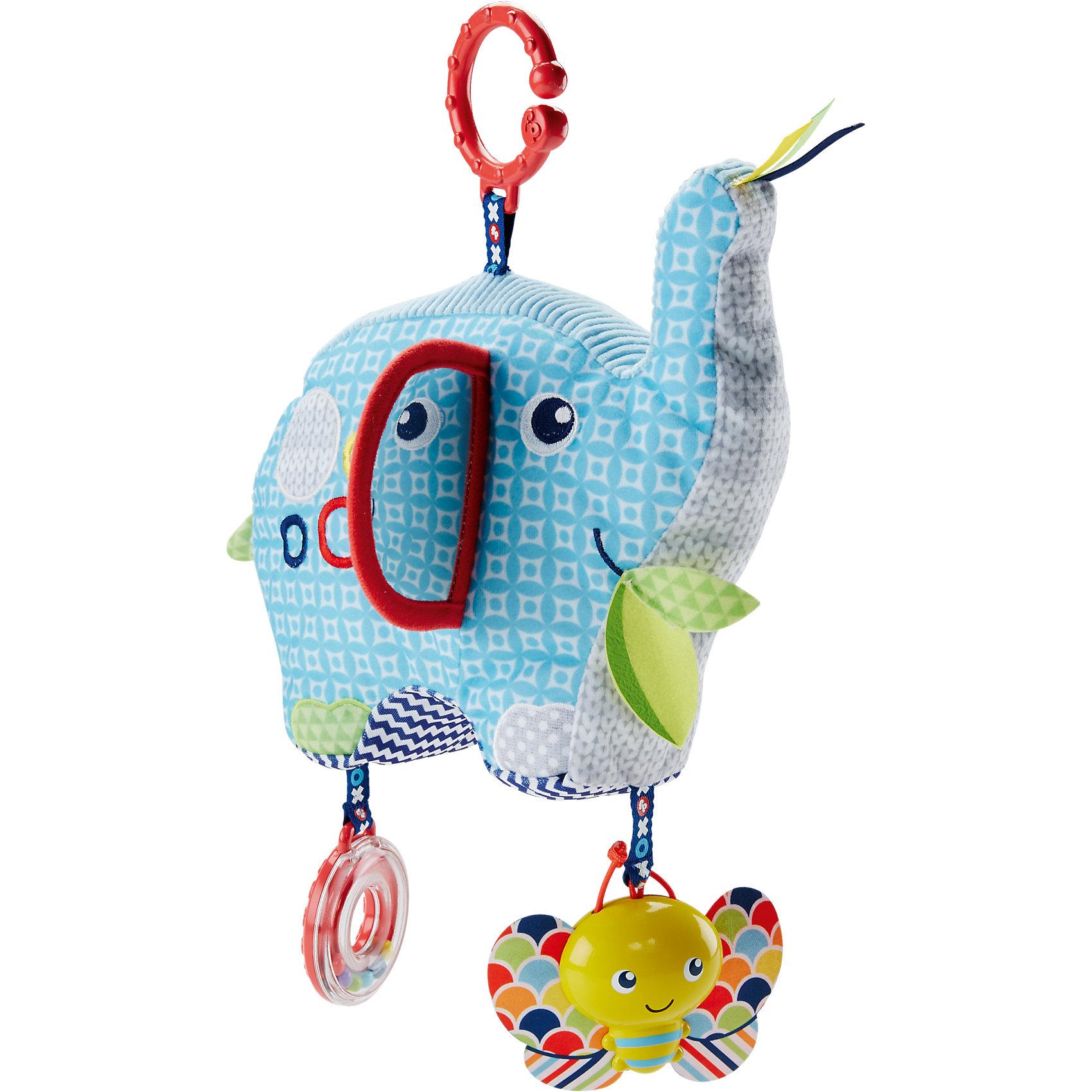 Плюшевая игрушка «Слоненок», Fisher PriceРазвивающие игрушки<br>Плюшевая игрушка «Слоненок», Fisher Price (Фишер Прайс)<br><br>Характеристики:<br><br>• несколько видов тканей<br>• слоник издает забавные звуки<br>• есть погремушка и зеркальце<br>• помогает развить тактильное и звуковое восприятие<br>• материал: пластик, текстиль<br>• высота слоника: 16 см<br>• размер упаковки: 27х20х10 см<br>• вес: 210 грамм<br><br>Забавный слоник станет лучшим другом любознательного карапуза. Слоник изготовлен из тканей, имеющих разную текстуру. Сочетание плюшевых, вельветовых, вязаных и шуршащих материалов поможет малышу в развитии тактильного восприятия. Потрясите слоника - и он будет издавать очень забавные звуки, вызывающие восторг у крохи. За ушком игрушки находится безопасное зеркальце, которое удивит и обрадует малыша. К ножкам слоника прикреплена бабочка и кольцо-погремушка. Они помогут развить координацию движений и звуковое восприятие. Подарите крохе счастливые моменты с милым слоненком!<br><br>Плюшевая игрушка «Слоненок», Fisher Price (Фишер Прайс) можно купить в нашем интернет-магазине.<br><br>Ширина мм: 279<br>Глубина мм: 243<br>Высота мм: 101<br>Вес г: 184<br>Возраст от месяцев: 0<br>Возраст до месяцев: 12<br>Пол: Унисекс<br>Возраст: Детский<br>SKU: 5073995