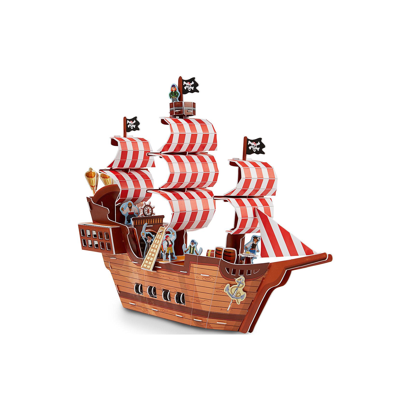 3D пазл Пиратский корабль, Melissa &amp; Doug3D пазлы<br>3D пазл Пиратский корабль, Melissa &amp; Doug (Мелисса и Даг).<br><br>Характеристики:<br><br>- В наборе: более 100 деталей из пенного материала<br>- Длина собранного корабля: 38 см.<br>- Размер упаковки: 42х29х2 см.<br>- Вес: 540 гр.<br><br>3D пазл Пиратский корабль от бренда Melissa&amp;Doug (Мелисса и Даг) поможет вашему малышу построить потрясающее пиратское судно и придумать множество сюжетно-ролевых игр. Благодаря простой инструкции корабль легко собирается из отдельных элементов по принципу объемного пазла. Для сборки не требуются ножницы и клей: все детали оснащены специальными выемками для соединения, каждая деталь имеет свой номер. Готовое изделие представляет собой многоуровневый пиратский корабль с яркими парусами, черными флагами, просторной палубой и оборудованными каютами. В комплекте есть фигурки пиратов и попугая, сундук с сокровищами, пушки, гребная лодка, мебель, оригинальные декорации и даже небольшой остров. Ваш ребенок будет с удовольствием устраивать морские сражения, переживать шторм и искать клад на необитаемом острове. Все детали выполнены из высококачественного материала и раскрашены нетоксичными красками. Сборка 3D пазла способствует развитию моторики, координации движений, концентрации внимания, воображения и усидчивости.<br><br>3D пазл Пиратский корабль, Melissa &amp; Doug (Мелисса и Даг) можно купить в нашем интернет-магазине.<br><br>Ширина мм: 420<br>Глубина мм: 20<br>Высота мм: 290<br>Вес г: 544<br>Возраст от месяцев: 72<br>Возраст до месяцев: 2147483647<br>Пол: Мужской<br>Возраст: Детский<br>SKU: 5074357