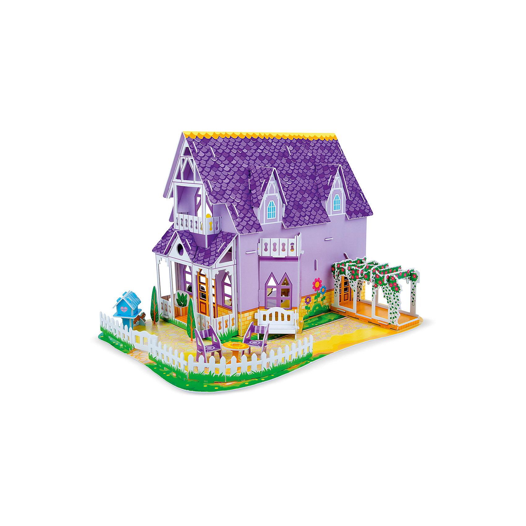 3D пазл Пурпурный домик для куклы, Melissa &amp; Doug3D пазлы<br>3D пазл Пурпурный домик для куклы, Melissa &amp; Doug (Мелисса и Даг).<br><br>Характеристики:<br><br>- В наборе: более 100 деталей из пенного материала<br>- Длина домика в собранном виде: 41х27х27 см.<br>- Размер упаковки: 42х29х2 см.<br>- Вес: 500 гр.<br><br>3D пазл Пурпурный домик для куклы от бренда Melissa&amp;Doug (Мелисса и Даг) поможет вашей малышке создать красочный кукольный дом и придумать множество сюжетно-ролевых игр. Благодаря простой инструкции он легко собирается из отдельных элементов по принципу объемного пазла. Для сборки не требуются ножницы и клей: все детали оснащены специальными выемками для соединения. Каждая деталь пронумерована. В собранном виде конструкция представляет собой двухэтажный пурпурный дом с уютными комнатами, балконом, верандой и просторным двориком, окруженным забором. В комплекте есть фигурки двух девочек, кошки и собаки, а также мебель, предметы интерьера и яркие декорации. Ваша девочка будет с удовольствием принимать гостей, укладывать кукол спатьг и делать перестановку в доме! Все детали выполнены из высококачественного пенного материала и раскрашены нетоксичными красками. Сборка 3D пазла способствует развитию моторики, координации движений, концентрации внимания, воображения и усидчивости.<br><br>3D пазл Пурпурный домик для куклы, Melissa &amp; Doug (Мелисса и Даг) можно купить в нашем интернет-магазине.<br><br>Ширина мм: 430<br>Глубина мм: 20<br>Высота мм: 290<br>Вес г: 454<br>Возраст от месяцев: 72<br>Возраст до месяцев: 2147483647<br>Пол: Женский<br>Возраст: Детский<br>SKU: 5074360