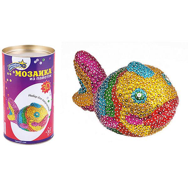 Мозаика из пайеток 3D РыбкаМозаика детская<br>Характеристики товара:<br><br>• материал: пенопласт, полимер, металл<br>• комплектация: пенопластовая заготовка, гвоздики, пайетки<br>• размер упаковки: 12x12x20 см<br>• упаковка: тубус<br>• возраст: от восьми лет<br>• для творчества<br>• страна бренда: Российская Федерация<br>• страна производства: Российская Федерация<br><br>Такой набор станет отличным подарком ребенку! Творчество - удачный способ занять детей. Это не только занимательно, но и очень полезно! С помощью такого набора ребенок сможет сам создать красивую объемную рыбку. Нужно всего лишь следовать инструкции! Это несложно и увлекательно - всё необходимое есть в наборе. Готовое изделие может стать подарком от ребенка на праздник для близких и родственников!<br>Такое занятие помогает детям развивать многие важные навыки и способности: они тренируют внимание, память, логику, мышление, мелкую моторику, творческие способности, а также усидчивость и аккуратность. Изделие производится из качественных сертифицированных материалов, безопасных даже для самых маленьких.<br><br>Мозаика из пайеток 3D Рыбка от бренда Волшебная мастерская можно купить в нашем интернет-магазине.<br>Ширина мм: 120; Глубина мм: 210; Высота мм: 120; Вес г: 550; Возраст от месяцев: 96; Возраст до месяцев: 168; Пол: Женский; Возраст: Детский; SKU: 5075351;