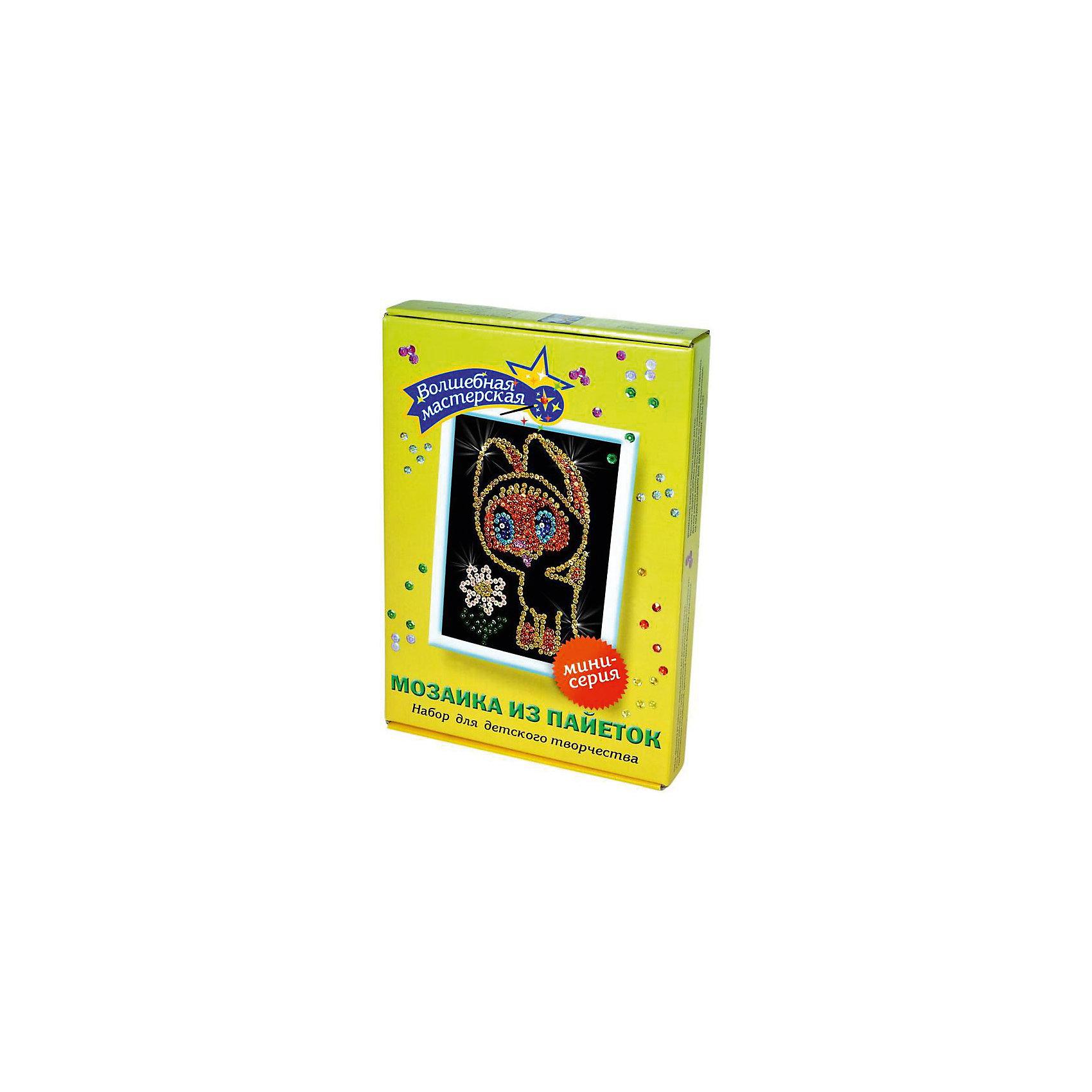 Мозаика из пайеток КотенокМозаика детская<br>Набор для детского творчества «Мозайка из пайеток» дарит возможность составить рисунок с бабочкой из пайеток. Пайтеки – это блестка, плоская чешуйка из блестящего материала, обычно круглой или многогранной формы и с отверстием для продевания нитки. Пайетка может иметь различную окраску. <br>Набор способствует развитию фантазии ребенка, мелкой моторики рук. Тренирует усидчивость и терпение, так как приходится работать с достаточно мелкими деталями. Подойдет как для домашних занятий творчеством так и для школьных.<br><br>Ширина мм: 375<br>Глубина мм: 34<br>Высота мм: 277<br>Вес г: 164<br>Возраст от месяцев: 36<br>Возраст до месяцев: 108<br>Пол: Унисекс<br>Возраст: Детский<br>SKU: 5075363