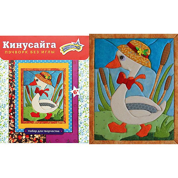Набор для творчества Кинусайга ГусьМозаика детская<br>Кинусайга или как ее еще называют пэчворк без иглы - техника рукоделия, зародившаяся на Востоке, в Японии. Это необыкновенный способ создания картин, не требующий применения иголки. Использовать данную технику можно практически во всем: в создании панно, шкатулок, игрушек, предметов интерьера. Лоскутная мозаика получила необыкновенную популярность во всем мире, нашла своих поклонников. Надеемся, она не оставит и вас равнодушными, порадует своей простотой исполнения, красотой, оригинальностью. Гусь станет хорошим подарком друзьям и близким.<br><br>Ширина мм: 190<br>Глубина мм: 230<br>Высота мм: 20<br>Вес г: 120<br>Возраст от месяцев: 36<br>Возраст до месяцев: 108<br>Пол: Унисекс<br>Возраст: Детский<br>SKU: 5075376