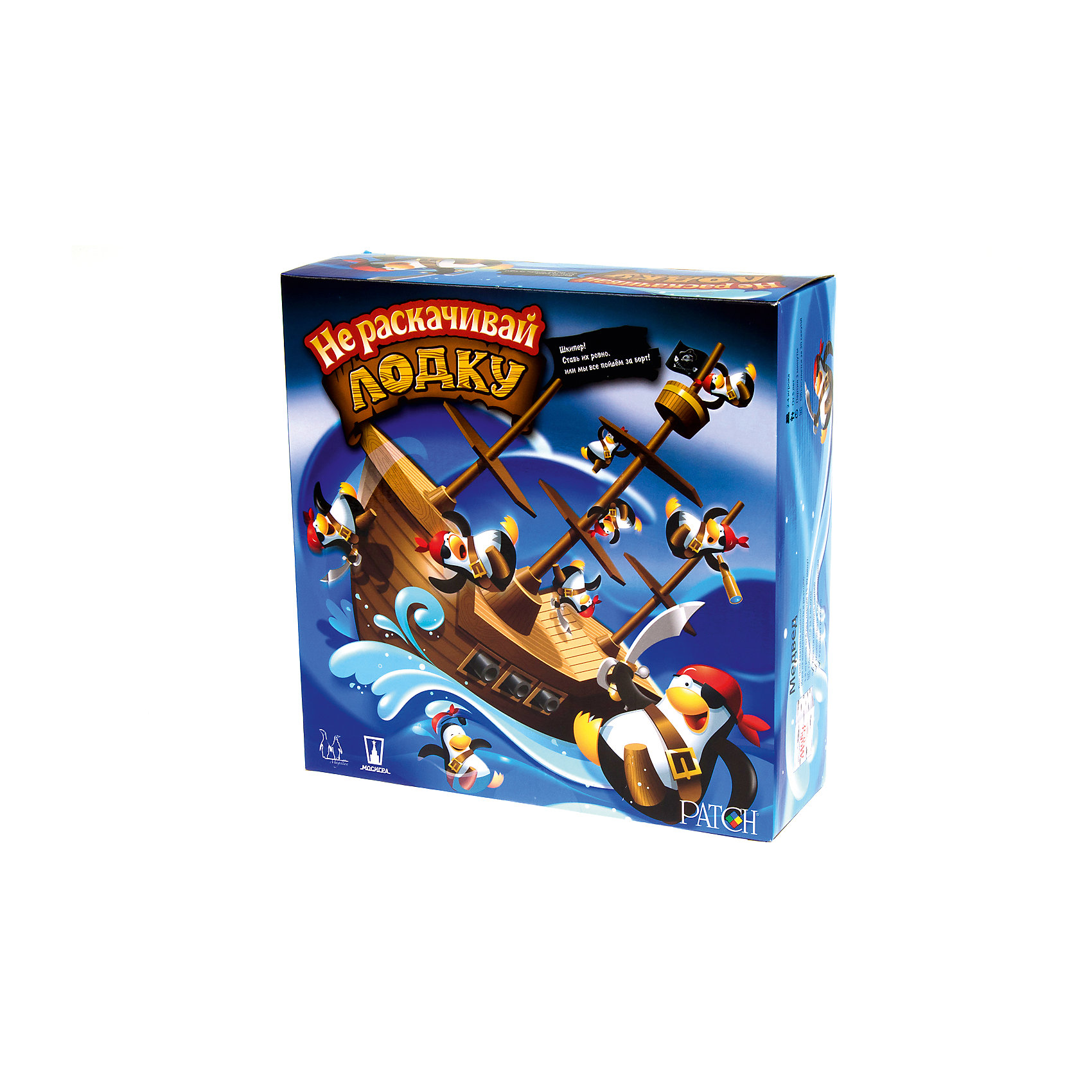 Настольная игра Не раскачивай лодку!, МагелланИгры для развлечений<br>Настольная игра Не раскачивай лодку!, Магеллан<br><br>Характеристики:<br><br>- в набор входит: корабль, подставка, фигурки пингвинов (16 шт.), правила<br>- количество игроков: 2 - 4<br>- время 1 партии игры: 5 - 10 минут<br><br>Эта увлекательная игра от российского производителя настольных игр и подарков «Магеллан» приведет детей в восторг и они захотят играть в нее снова и снова. Не сложная, но захватывающая, она привлечет внимание своими интересными фигурками и дизайном. Правила игры очень просты – нужно по очереди ставить пингвинов на корабль, можно на мачту или на смотровую, главное, чтобы корабль не раскачивался. Проигрывает тот, кто, поставив последнего пингвина, раскачивает корабль и когда хоть один пингвин выпадает за борт. Теперь играть в компании братиков, сестричек или друзей станет еще веселее! Игра поможет развить координацию движения, внимательность,  логическое мышление и ловкость. <br><br>Настольную игру Не раскачивай лодку!, Магеллан можно купить в нашем интернет-магазине.<br><br>Ширина мм: 265<br>Глубина мм: 88<br>Высота мм: 264<br>Вес г: 602<br>Возраст от месяцев: 60<br>Возраст до месяцев: 2147483647<br>Пол: Унисекс<br>Возраст: Детский<br>SKU: 5076548