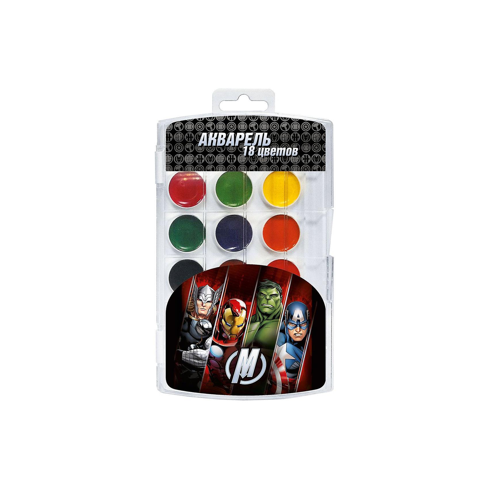 Акварель Мстители 18 цветовВ наборе акварельных красок «Marvel» Мстители 18 ярких, насыщенных цветов. Краски превосходно подходят для рисования: они хорошо размываются водой, легко наносятся на поверхность, быстро сохнут, безопасны при использовании по назначению. Состав: вода питьевая, декстрин, глицерин, сахар, органические и неорганические тонкодисперсные пигменты, консервант, наполнитель. Срок годности не ограничен.<br><br>Ширина мм: 195<br>Глубина мм: 110<br>Высота мм: 10<br>Вес г: 118<br>Возраст от месяцев: 36<br>Возраст до месяцев: 84<br>Пол: Унисекс<br>Возраст: Детский<br>SKU: 5076551