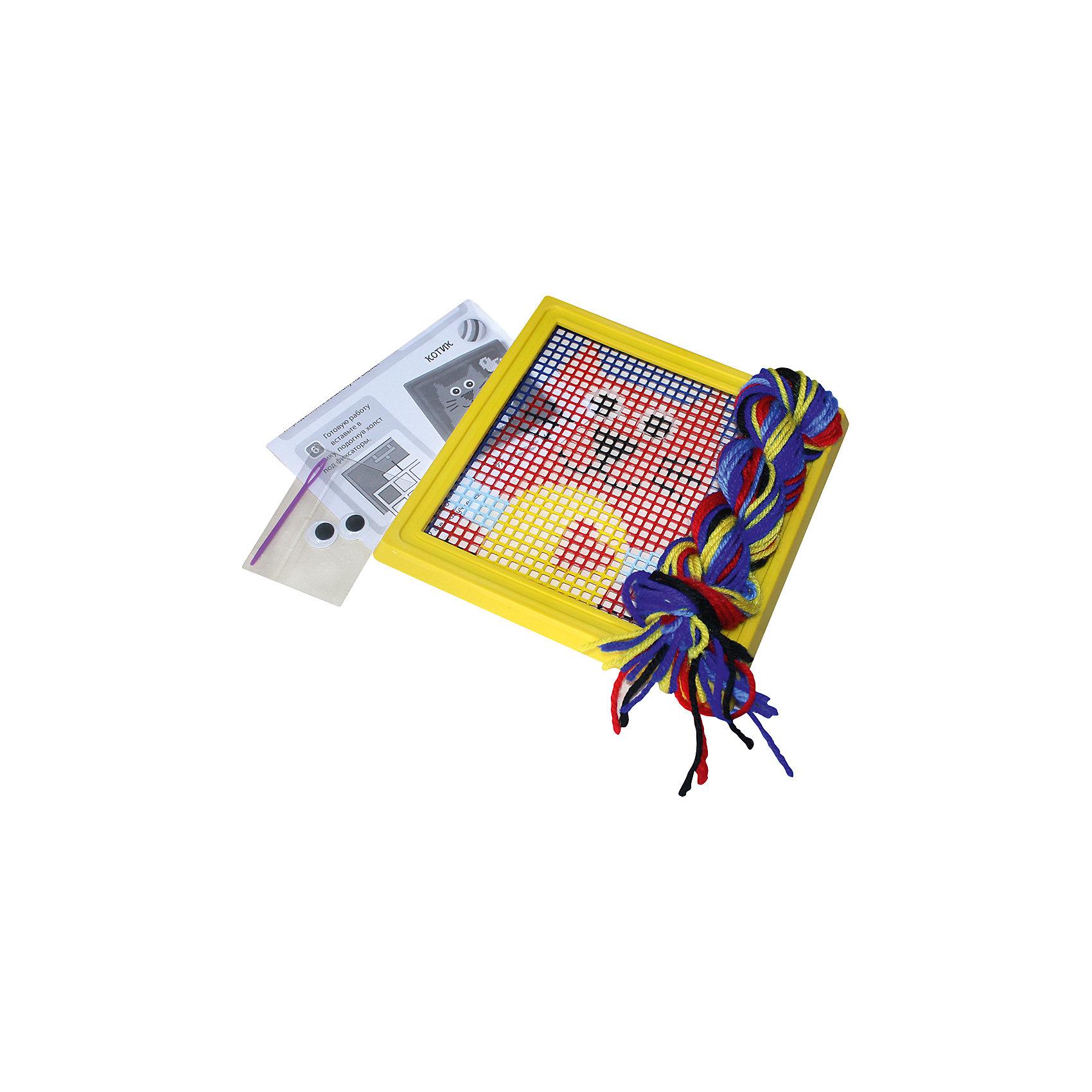 Набор для вышивания Котик, КРЕАТТОНабор для вышивания по пластиковой канве «Котик» - это простое и безопасное средство научить юную мастерицу вышивать. Сначала нужно выбрать из мотка 2 нити того цвета, которым окрашен верхний левый угол канвы, вдеть их в пластиковую безопасную иголку, закрепить в указанном ранее месте и выполнять стежки горизонтальными рядами слева направо, двигаясь по канве сверху вниз. Подробная инструкция в картинках, продуманная комплектация набора и идеально подобранные цвета нитей помогут вашей маленькой рукодельнице создать очаровательную картинку. Готовую вышивку поместите в рамочку, входящую в комплект, и поставьте ее на видное место. Малышка будет сиять от восторга, видя, как все любуются ее поделкой.&#13;<br>В наборе для вышивания «Котик» ТМ «Креатто» 6 предметов: пластиковая канва (16,5х16,5) с нанесенным рисунком, пластиковая рамка для картины, 8 цветов шерстяных ниток (20 м), пластиковая иголка, пластиковые вращающиеся глазки с клеевым слоем, инструкция. Товар сертифицирован.<br><br>Ширина мм: 210<br>Глубина мм: 185<br>Высота мм: 30<br>Вес г: 120<br>Возраст от месяцев: 60<br>Возраст до месяцев: 108<br>Пол: Унисекс<br>Возраст: Детский<br>SKU: 5076566