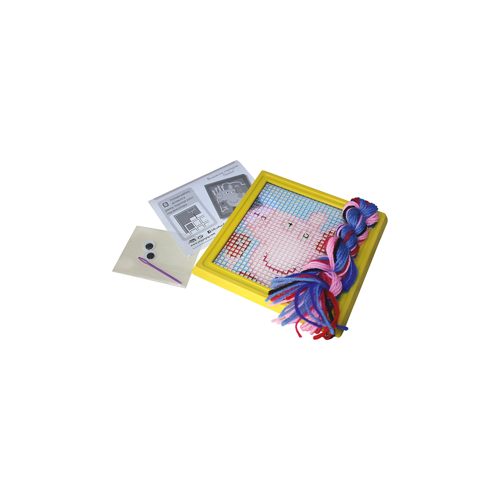 Набор для вышивания Модница, Свинка ПеппаНабор для вышивания по пластиковой канве «Модница» - это простое и безопасное средство научить юную мастерицу вышивать. Сначала нужно выбрать из мотка 2 нити того цвета, которым окрашен верхний левый угол канвы, вдеть их в пластиковую безопасную иголку, закрепить в указанном ранее месте и выполнять стежки горизонтальными рядами слева направо, двигаясь по канве сверху вниз. Подробная инструкция в картинках, продуманная комплектация набора и идеально подобранные цвета нитей помогут вашей маленькой рукодельнице создать очаровательную картинку. Готовую вышивку поместите в рамочку, входящую в комплект, и поставьте ее на видное место. Малышка будет сиять от восторга, видя, как все любуются ее поделкой.&#13;<br>В наборе для вышивания «Модница» ТМ «Свинка Пеппа» 6 предметов: пластиковая канва (16,5х16,5) нанесенным рисунком, пластиковая рамка для картины, 8 цветов шерстяных ниток (20 м), пластиковая иголка, пластиковые вращающиеся глазки с клеевым слоем, инструкция. Товар сертифицирован.<br><br>Ширина мм: 210<br>Глубина мм: 185<br>Высота мм: 30<br>Вес г: 120<br>Возраст от месяцев: 60<br>Возраст до месяцев: 108<br>Пол: Унисекс<br>Возраст: Детский<br>SKU: 5076567