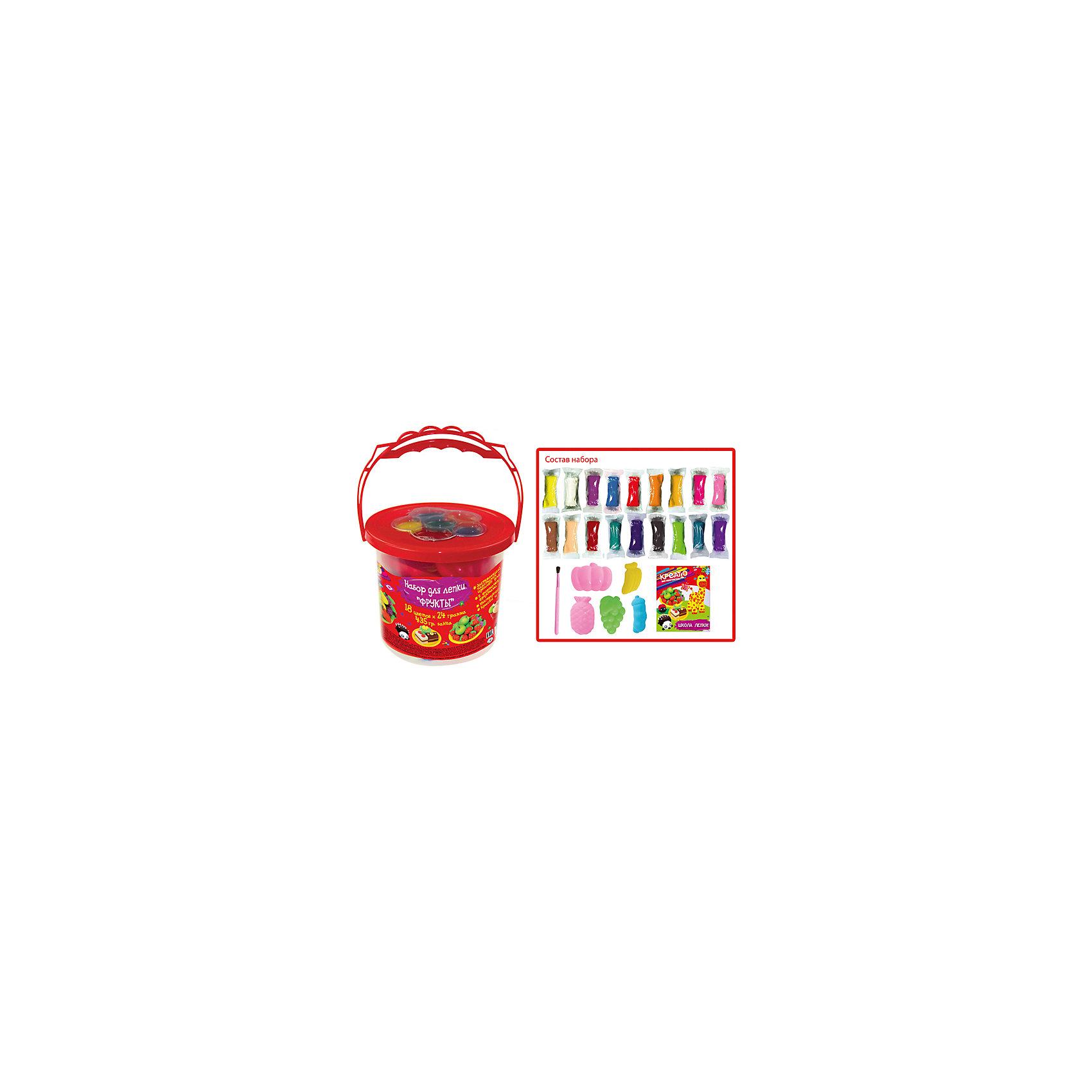 Набор для лепки Фрукты, КРЕАТТОПластилин «КРЕАТТО» оптимально подходит для детских пальчиков. Он мягкий, податливый, приятный на ощупь – его не нужно дополнительно греть и разминать. А его большое количество (435 кг) просто идеально для уроков лепки. Создавайте формочками фрукты и овощи, лепите разные фигурки, смешивайте цвета и получайте новые, фантазируйте, тренируйте пальчики малыша, развивайте его воображение. А затем оставьте поделки на воздухе на несколько часов. Когда они засохнут, раскрасьте их красками, входящими в набор. С фигурками можно будет играть, как с игрушками! А если вы хотите использовать пластилин повторно, то сразу после лепки, не дожидаясь высыхания, кладите его в баночку с крышкой.&#13;<br>В наборе «Фрукты»: 18 цветов застывающего пластилина по 24 г, 5 формочек в виде фруктов и овощей, 6 цветов красок, кисточка, инструкция в картинках. Материал пластичен, не липнет к рукам, не пачкается. Товар сертифицирован и безопасен для детей. Срок годности – 3 года. Упаковка – удобная баночка с ручкой.<br><br>Ширина мм: 130<br>Глубина мм: 130<br>Высота мм: 115<br>Вес г: 580<br>Возраст от месяцев: 36<br>Возраст до месяцев: 84<br>Пол: Унисекс<br>Возраст: Детский<br>SKU: 5076572