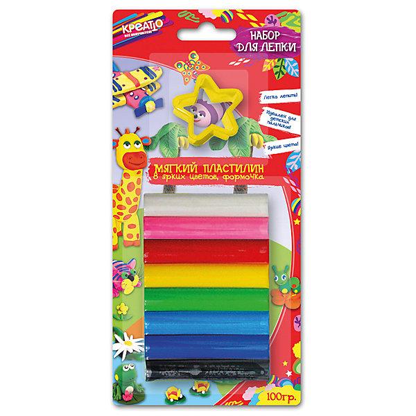 Набор для лепки, КРЕАТТОНаборы для лепки<br>Приглашаем в творческое путешествие вместе с Креатто! Набор мягкого пластилина премиум-класса идеально подходит для детских пальчиков и поможет легко организовать веселые уроки лепки. Для этого в нем есть 8 ярких цветов пластилина (100 г) и 1 формочка, а на обратной стороне коробочки вы найдете множество интересных идей и советов для лепки. А лепить из этого пластилина – одно удовольствие: его не нужно дополнительно греть и разминать, он мягкий, обладает отличными пластичными свойствами, безопасен при использовании по назначению. Срок годности: 3 года. Упаковка – блистер с европодвесом размером 20х9,5 см.<br><br>Ширина мм: 200<br>Глубина мм: 95<br>Высота мм: 15<br>Вес г: 110<br>Возраст от месяцев: 36<br>Возраст до месяцев: 84<br>Пол: Унисекс<br>Возраст: Детский<br>SKU: 5076579