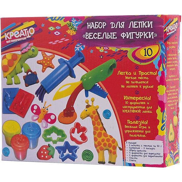 Набор для лепки «Веселые фигурки», КРЕАТТОНаборы для лепки игровые<br>С набором для лепки «Веселые фигурки» ваш малыш легко создаст множество разнообразных поделок. Скалочкой раскатывайте блинчики, стекой и формочками вырезайте различные фигурки и лепите с их помощью забавных животных. Смешивайте цвета, фантазируйте, экспериментируйте, а инструкция в картинках и полезные советы на коробочке вам помогут. Такое увлекательное и полезное занятие активно развивает у детей мелкую моторику, воображение, цветовое и тактильное восприятие. С «КРЕАТТО» все получается легко!<br>В наборе 3 цвета теста для лепки в баночках по 50 г и 10 предметов: супернож (3 насадки), шприц-давилка, 4 формочки для вырезания, 2 формочки для выдавливания, скалка, стека. Мягкое цветное тесто идеально подходит для лепки: оно очень пластичное, не липнет к рукам и не пачкается. Тесто не пригодно для еды! Игрушки выполнены из высококачественного пластика. Товар сертифицирован и безопасен при использовании по назначению. Упаковка – красочная коробка.<br>Ширина мм: 265; Глубина мм: 215; Высота мм: 58; Вес г: 450; Возраст от месяцев: 36; Возраст до месяцев: 84; Пол: Унисекс; Возраст: Детский; SKU: 5076593;